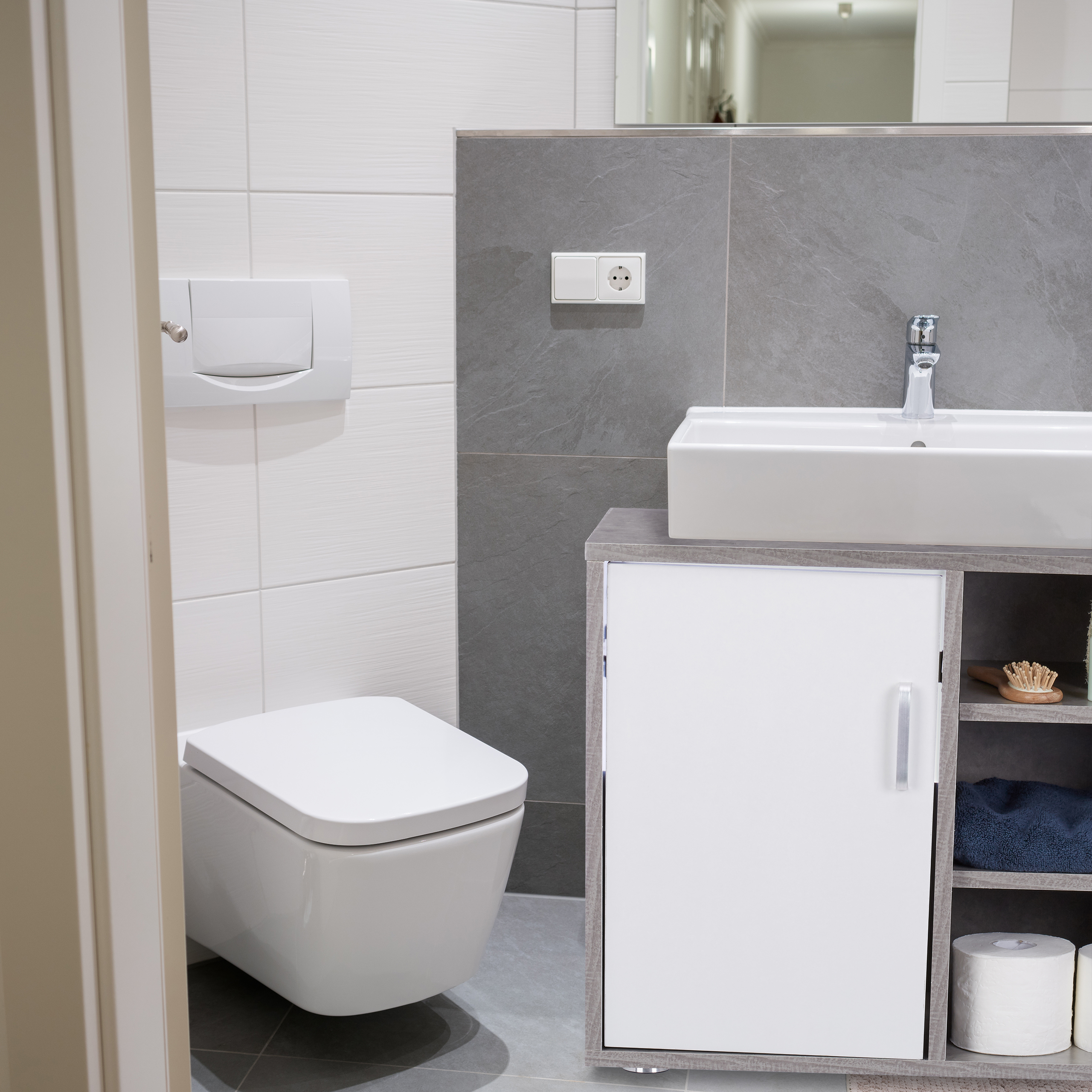 Waschbeckenunterschrank weiß Badschrank WC Unterstellschrank ...