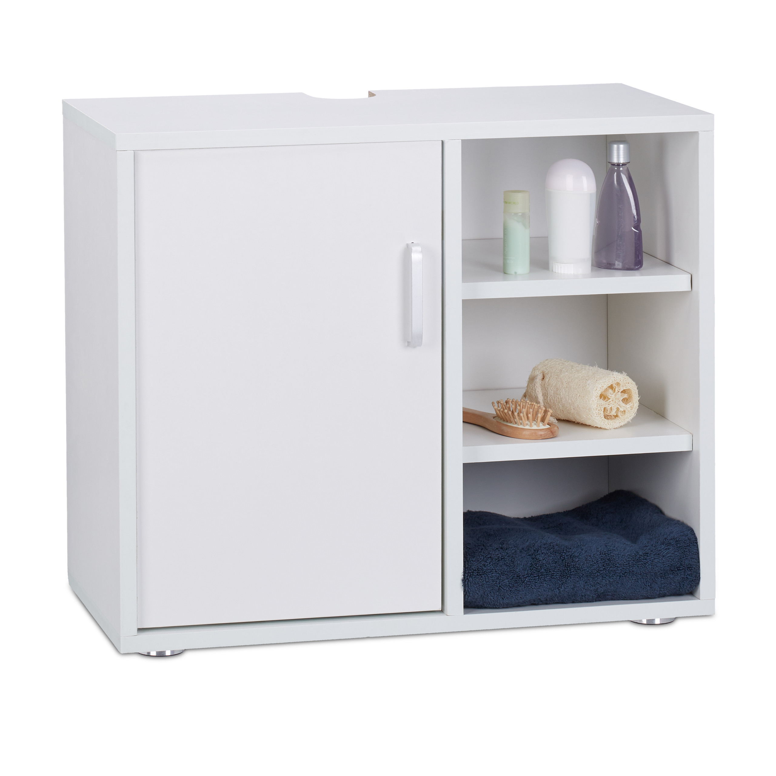 Détails sur Dessous de Lavabo Blanc Placard Salle de bain WC Meuble Sous  Vasque SDB 1 Porte