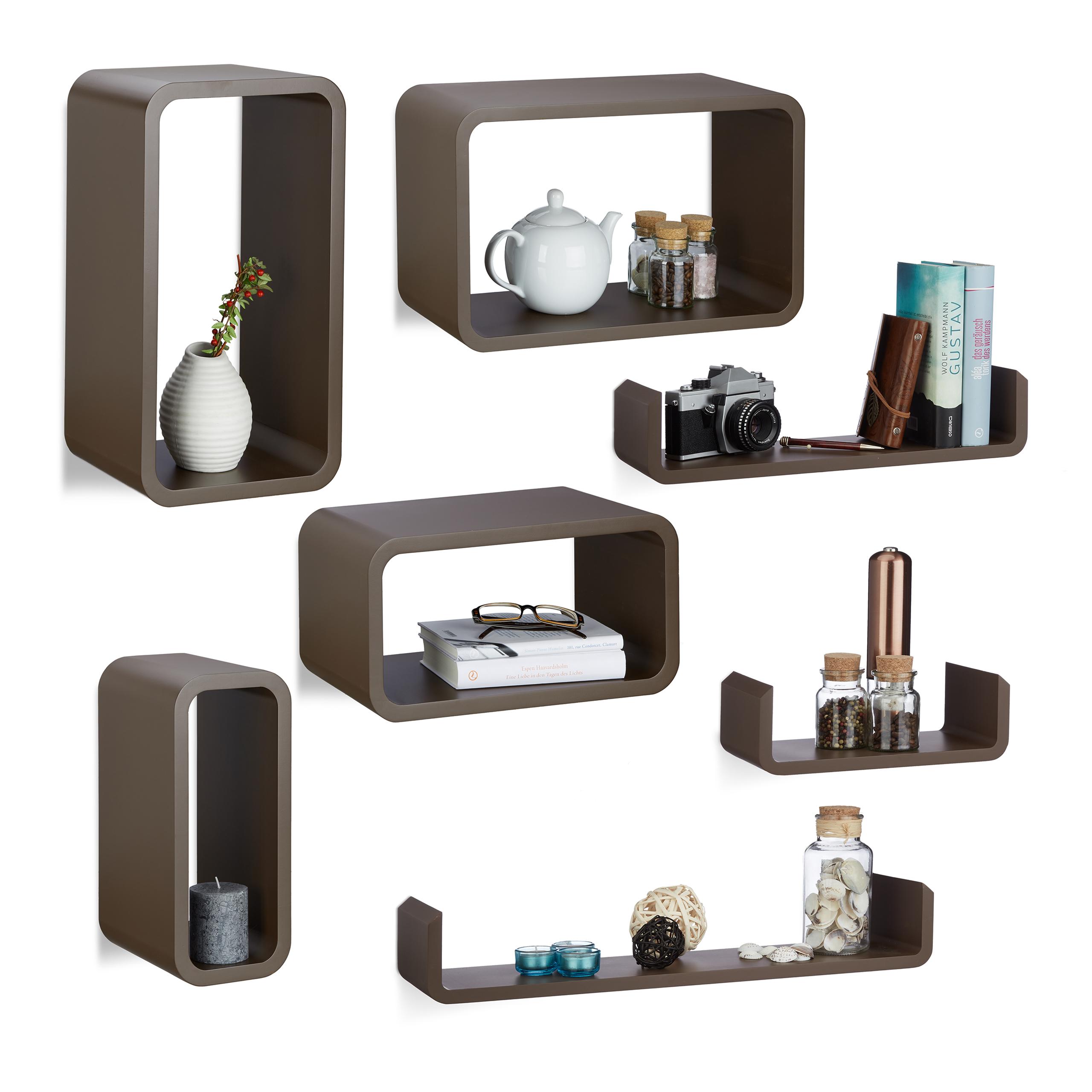 Dettagli su Set da 7 mensole da parete per cucina, soggiorno, montaggio a  scomparsa, marrone