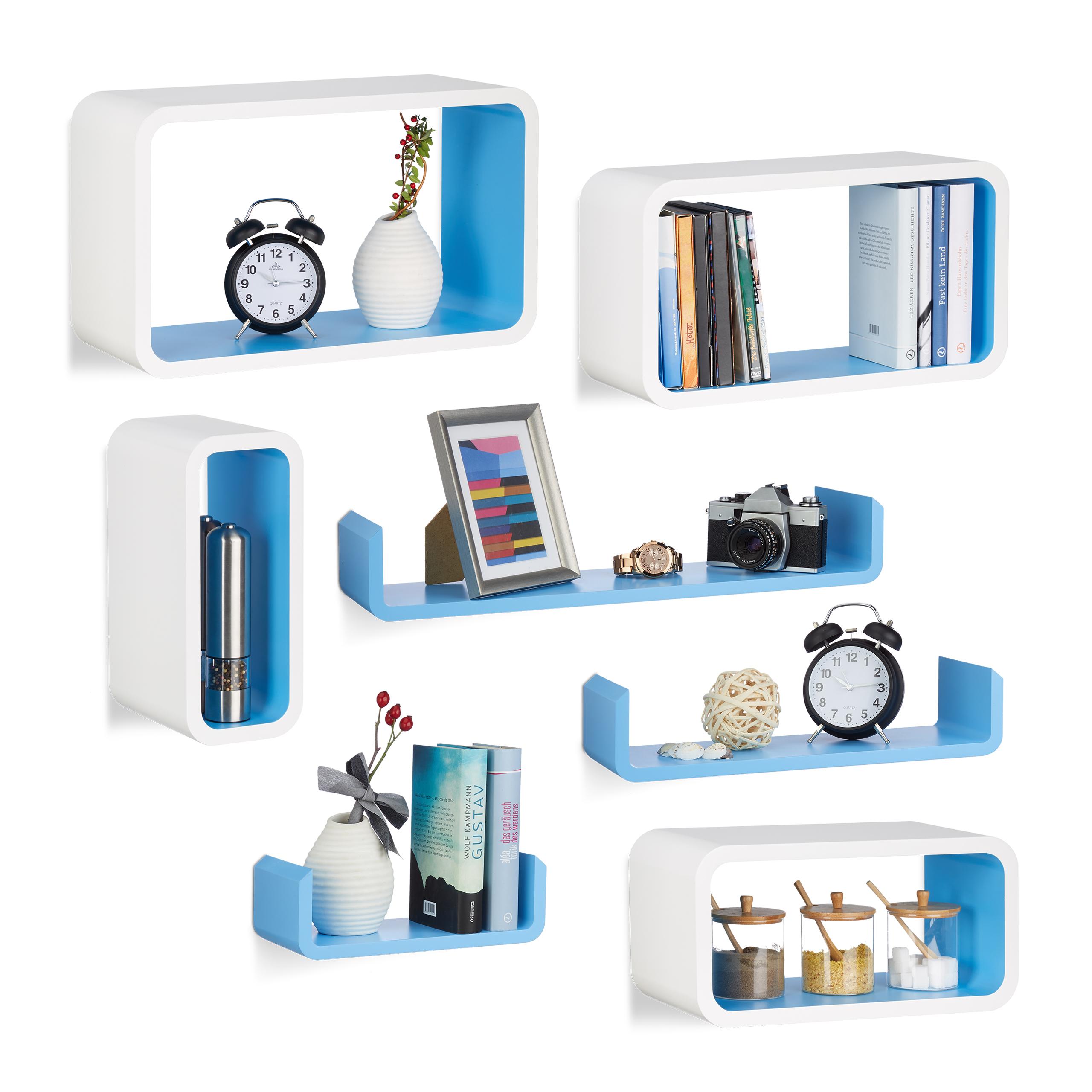 Dettagli su Set 7 mensole da parete per cucina, soggiorno, montaggio a  scomparsa, bianco-blu