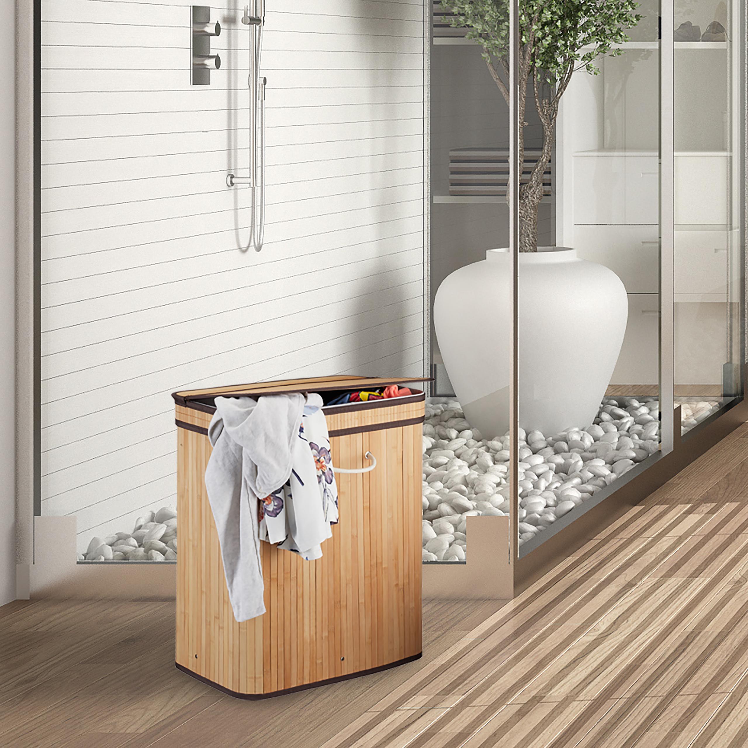 w schekorb mit deckel 2 f cher bambus w schesammler w schetrenner w schekiste ebay. Black Bedroom Furniture Sets. Home Design Ideas