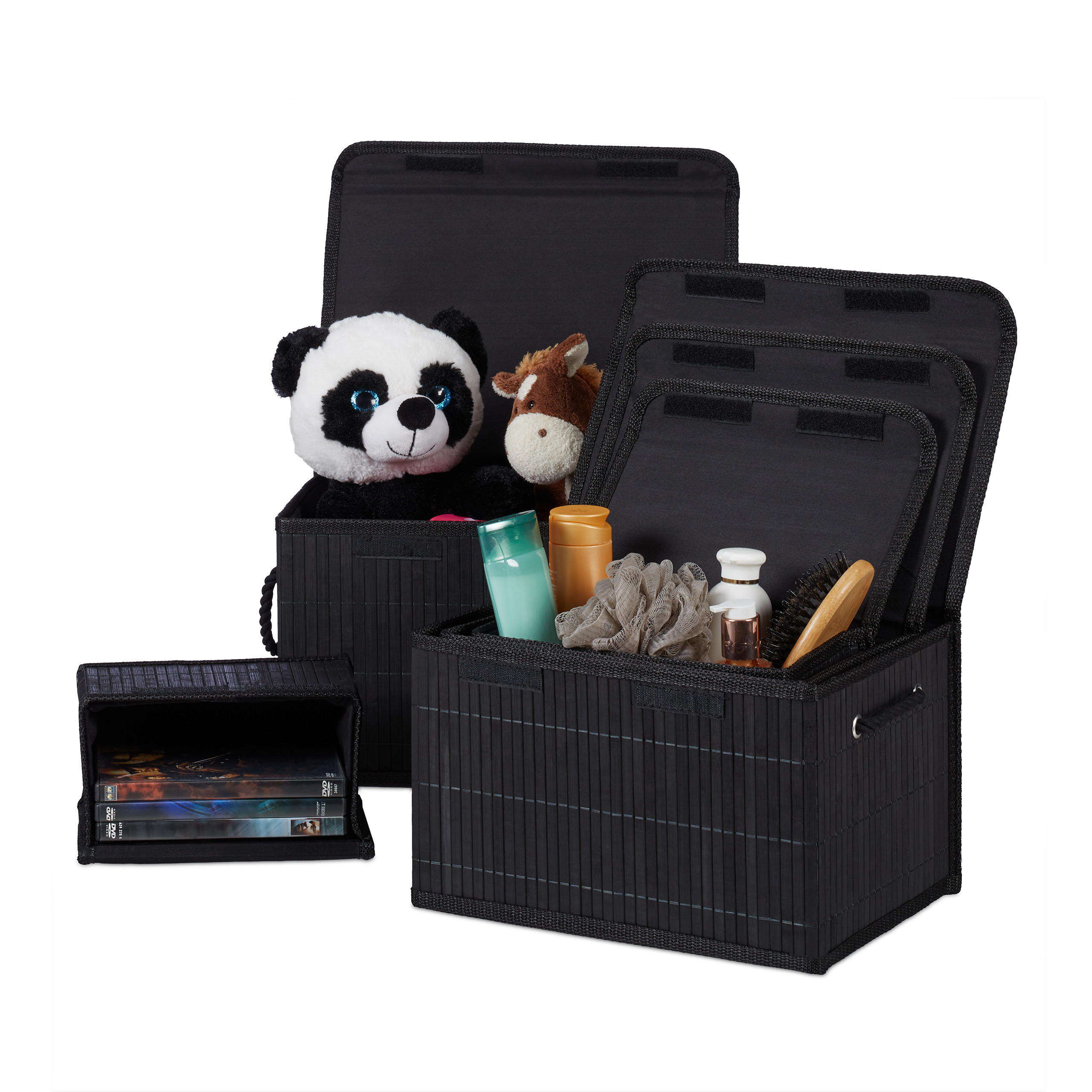 Basket Aufbewahrungskorb 3er Set Mit Deckel Aufbewahrungsbox