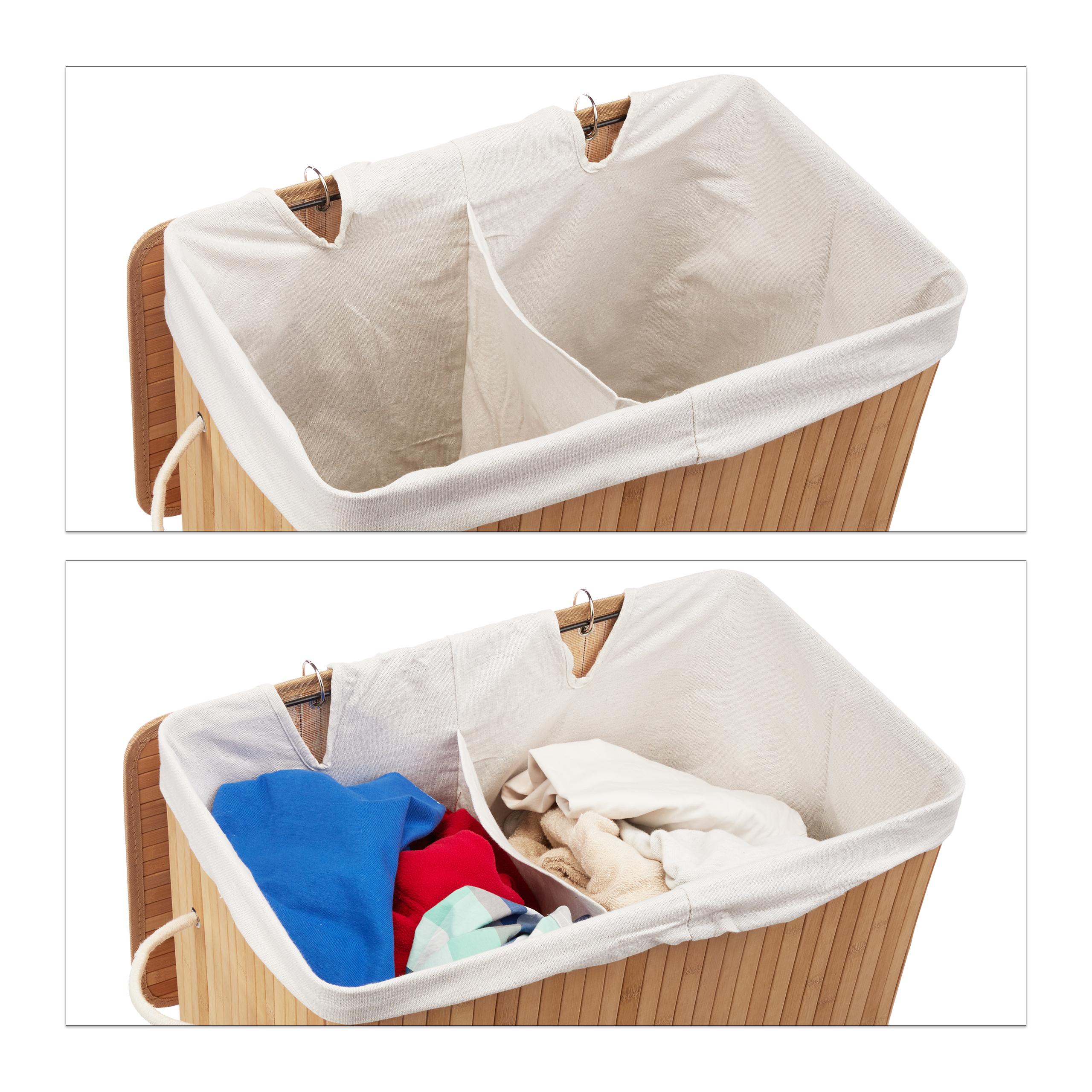 Wäschekorb Wäschesammler Wäschebox Bambus mit 2 Fächern, faltbar, Deckel, eckig eBay ~ 02051540_Wäschekorb Weide Eckig Mit Deckel
