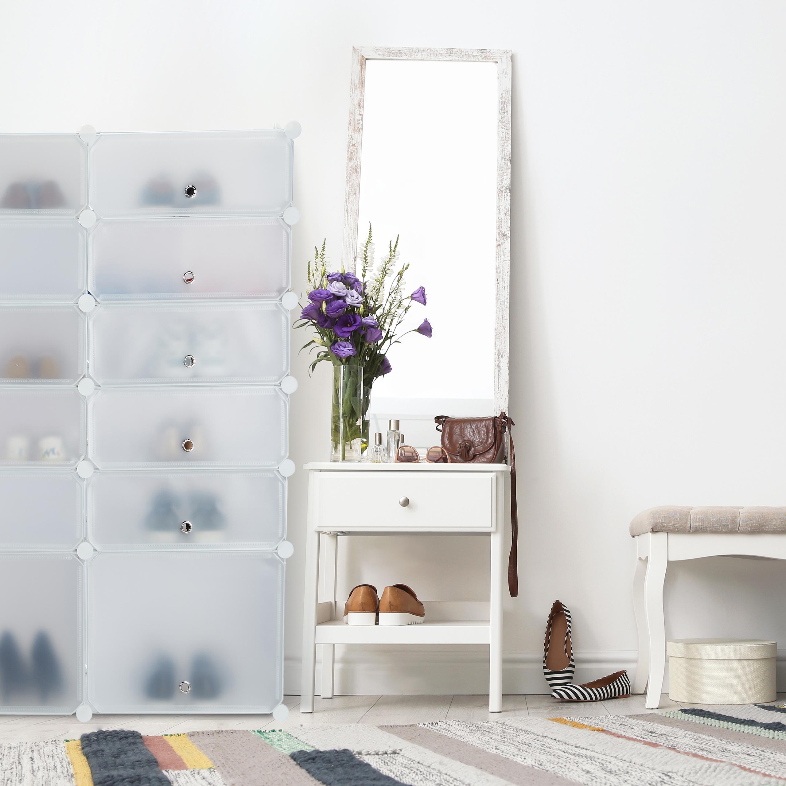 schuhregal kunststoff 12 f cher schuhschrank steckregal. Black Bedroom Furniture Sets. Home Design Ideas