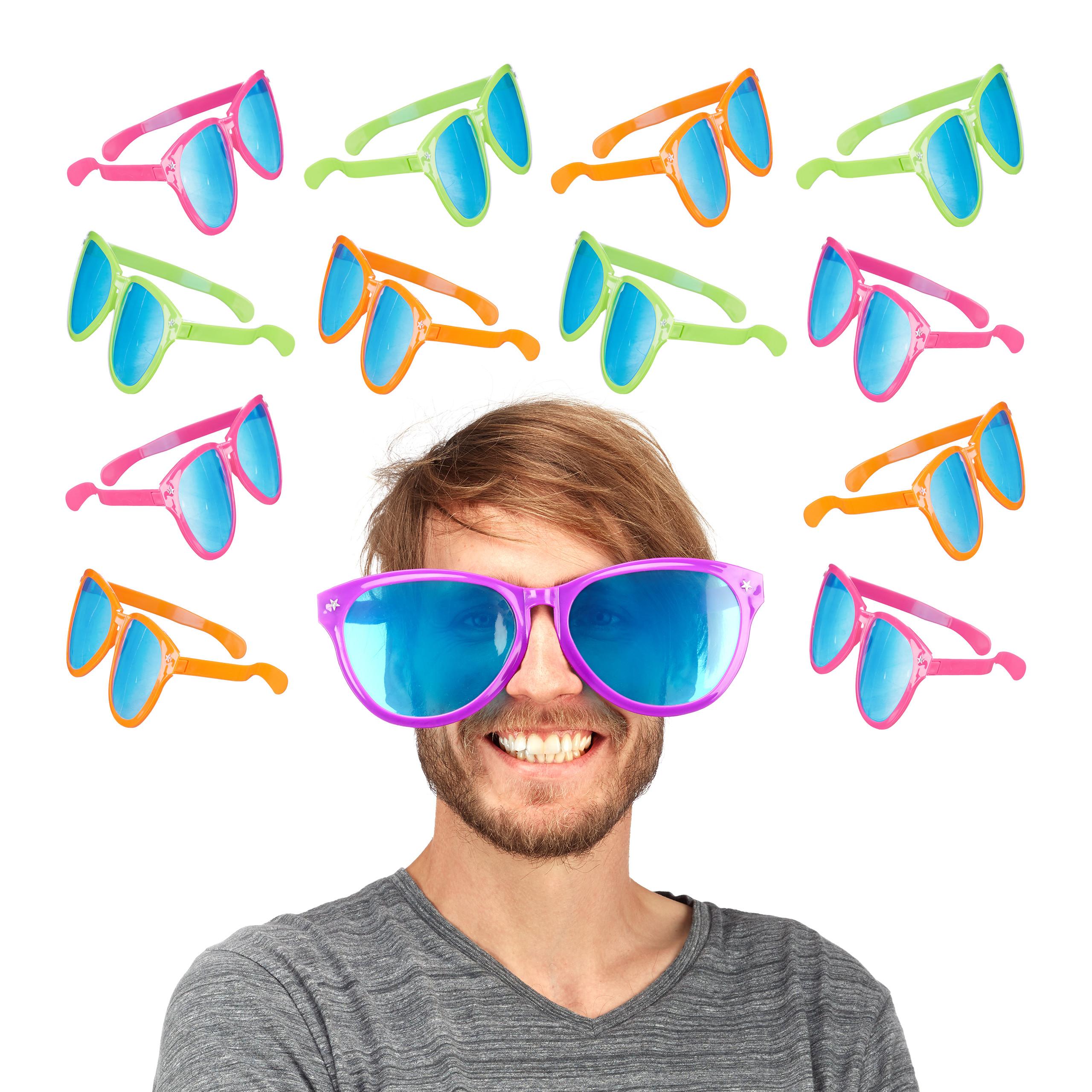 12x Partybrille groß Riesenbrille Scherzbrille Hippiebrille Spaßbrille Gagbrille