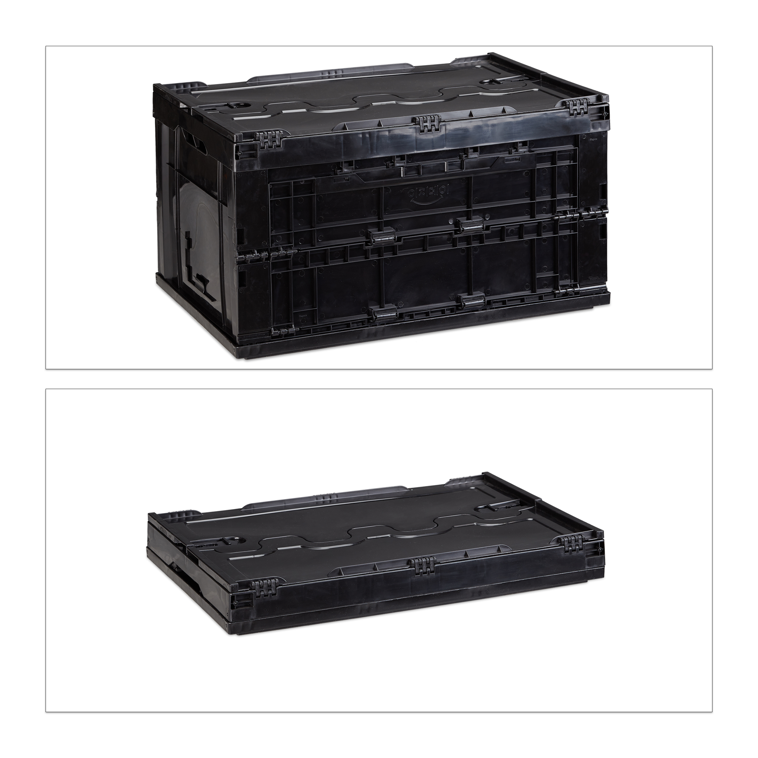 4x faltbox mit deckel 60 l aufbewahrungsbox transportbox universalbox klappbar ebay. Black Bedroom Furniture Sets. Home Design Ideas