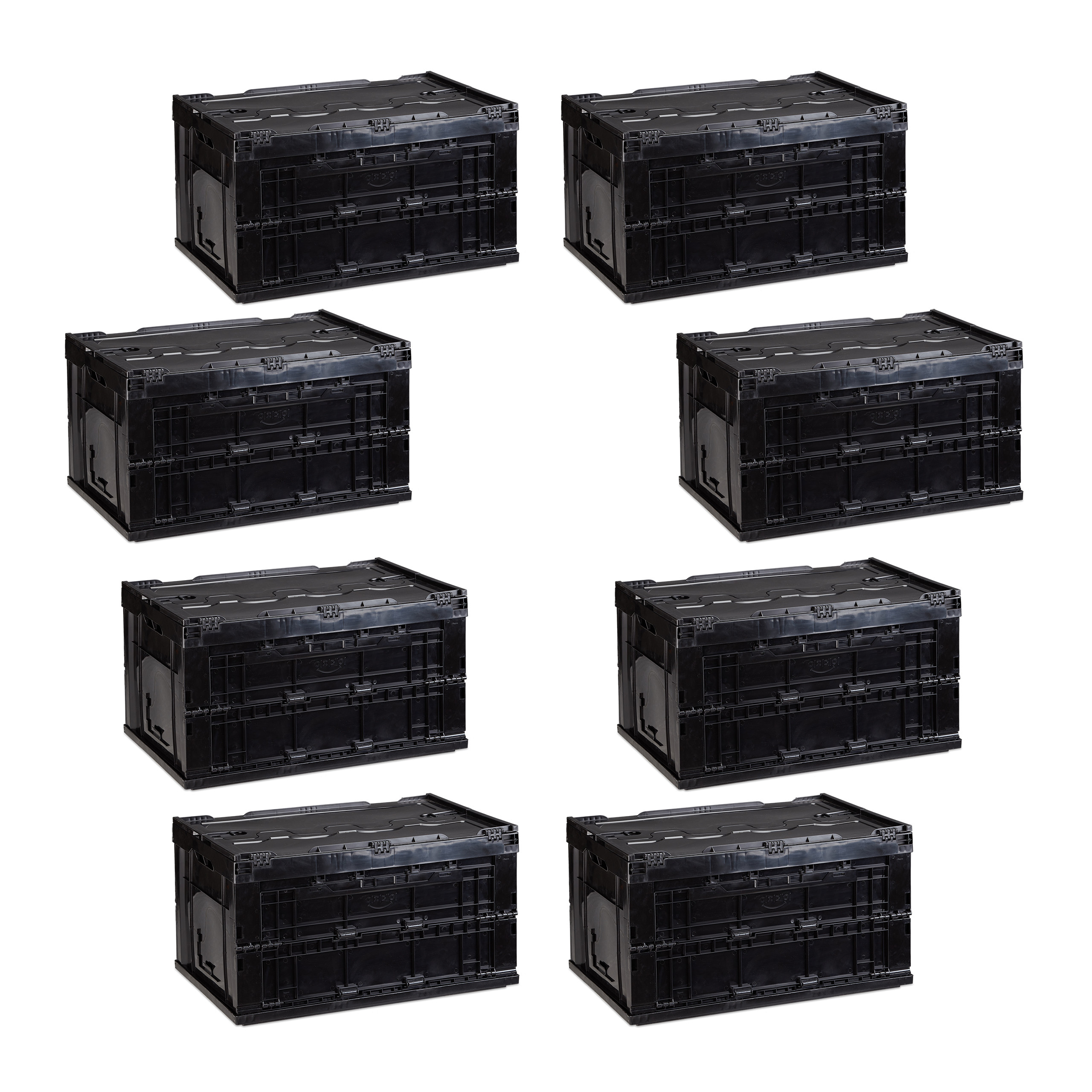 8er set faltbox mit deckel aufbewahrungsbox klappbar stapelbox klappbox schwarz ebay. Black Bedroom Furniture Sets. Home Design Ideas