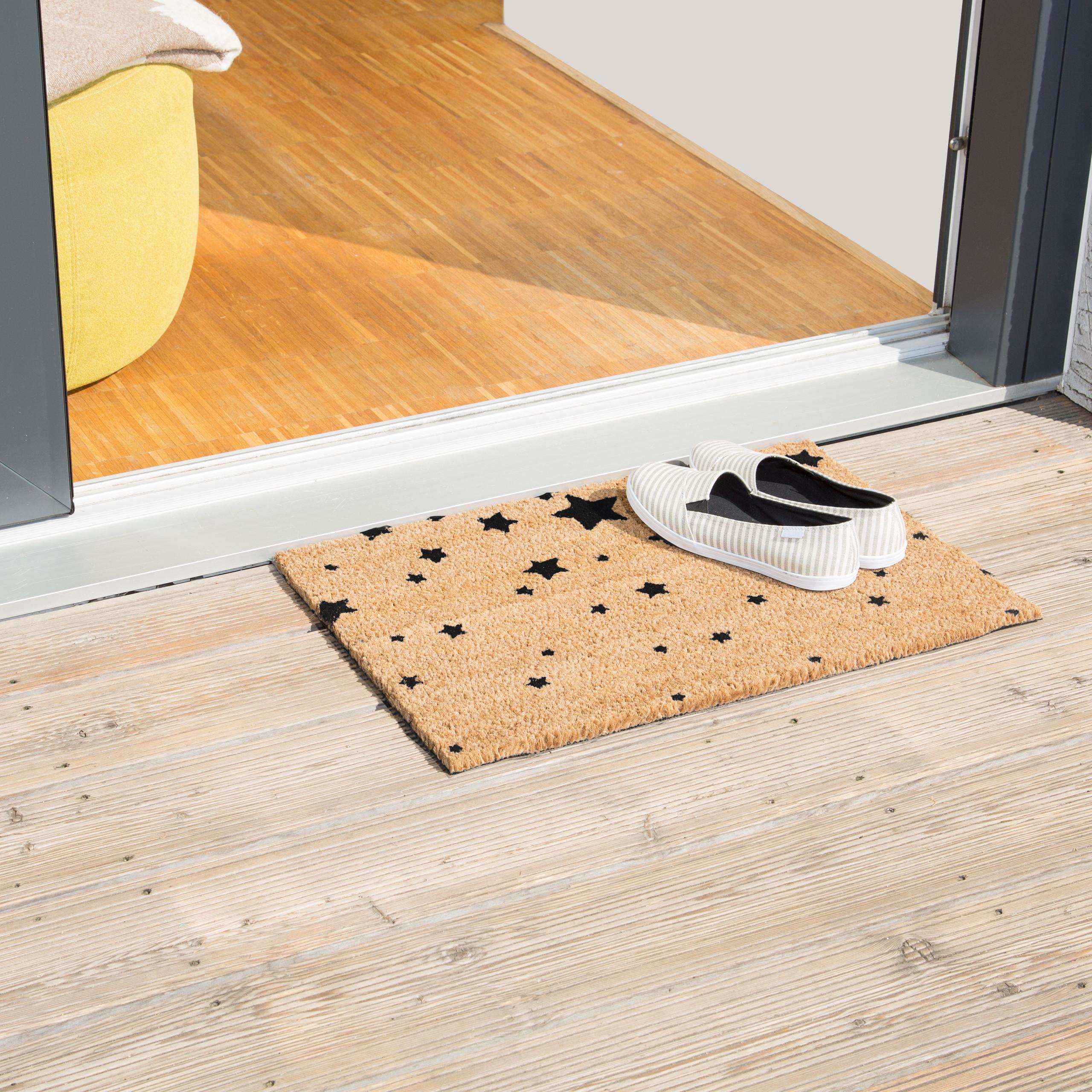 Indexbild 3 - Fußmatte Kokos Kokosmatte 60x40 STERNE Fußabtreter Schmutzmatte Türmatte natur