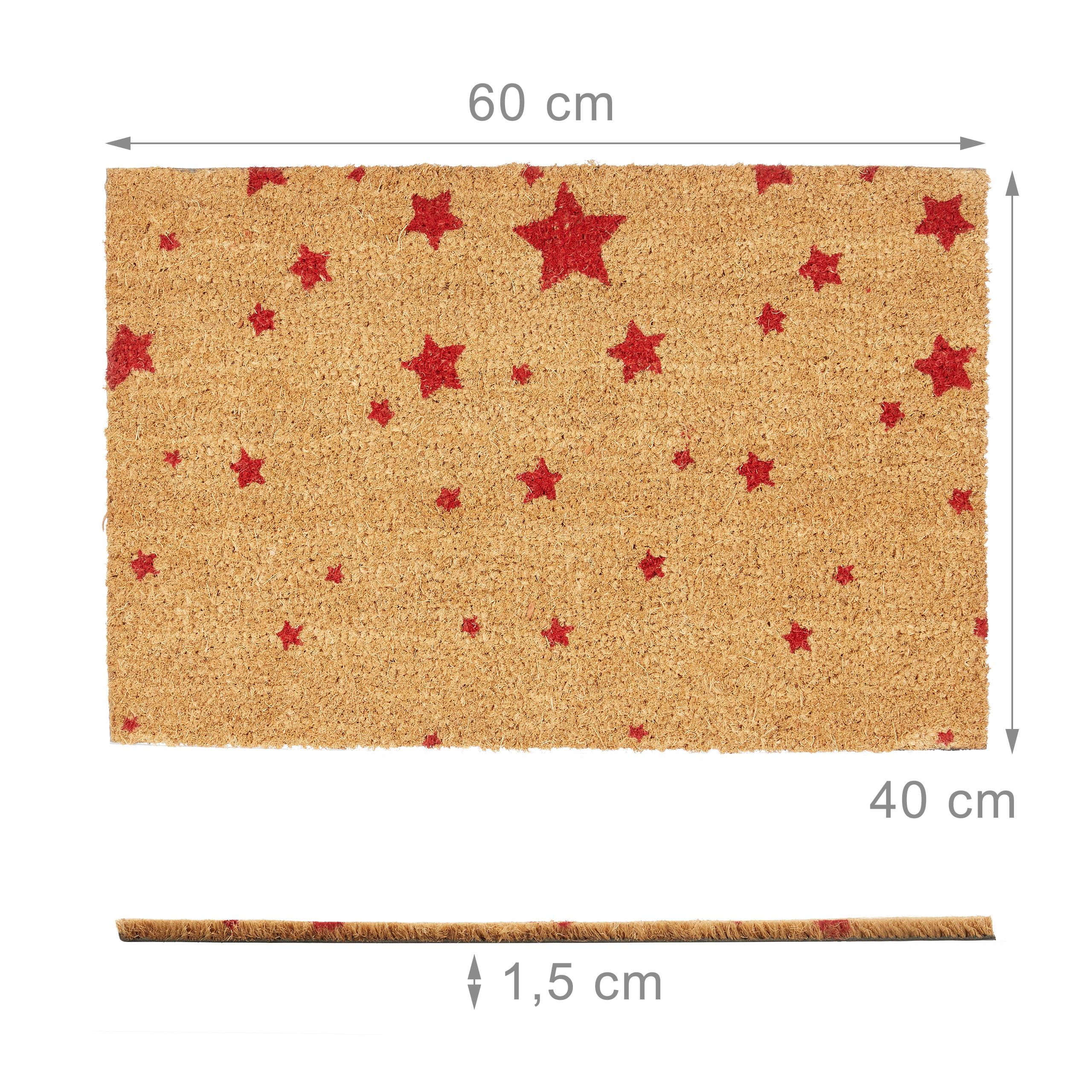 Indexbild 10 - Fußmatte Kokos Kokosmatte 60x40 STERNE Fußabtreter Schmutzmatte Türmatte natur