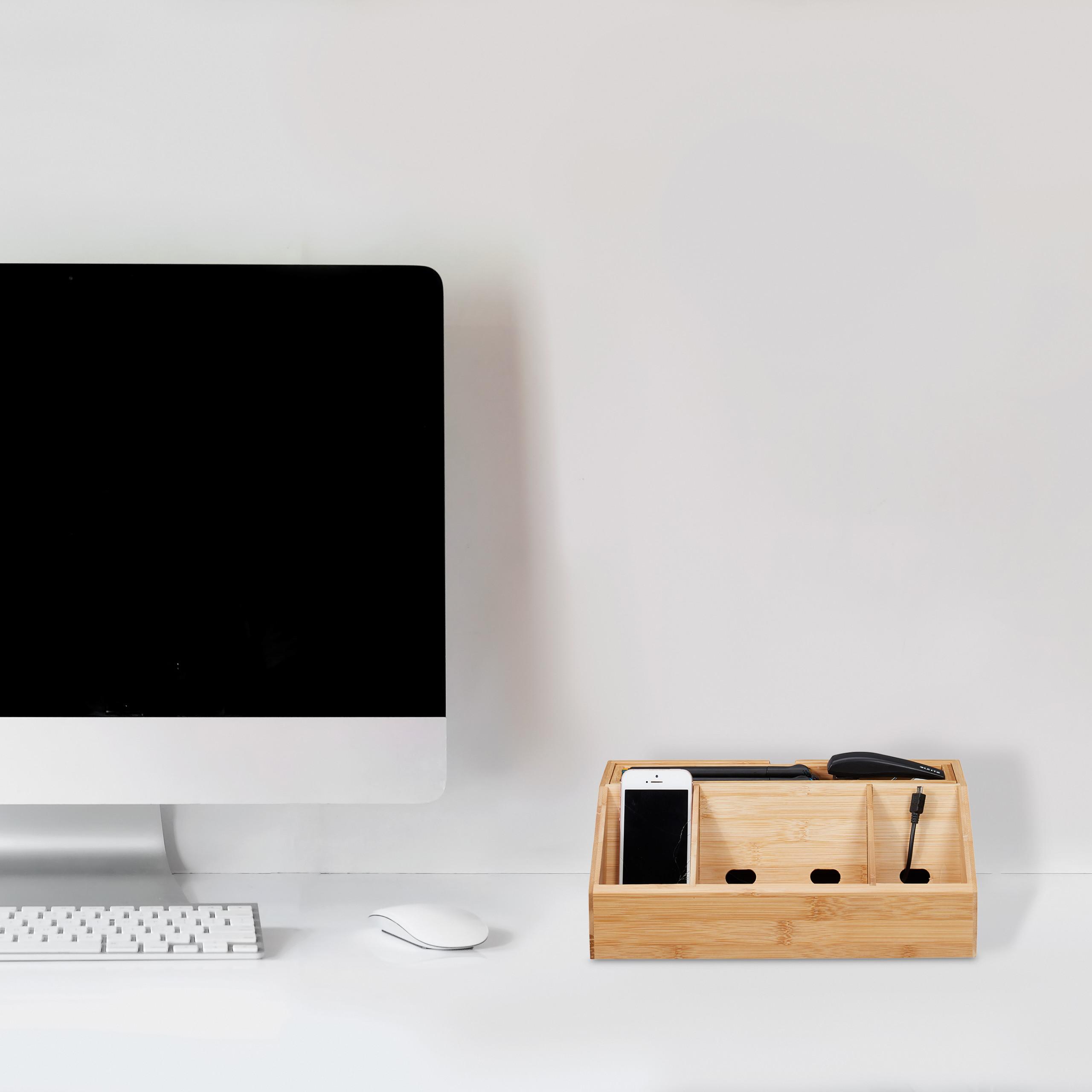 Schreibtisch-Organizer Bambus Ladestation Büro Organizer Handyhalter Stiftebox