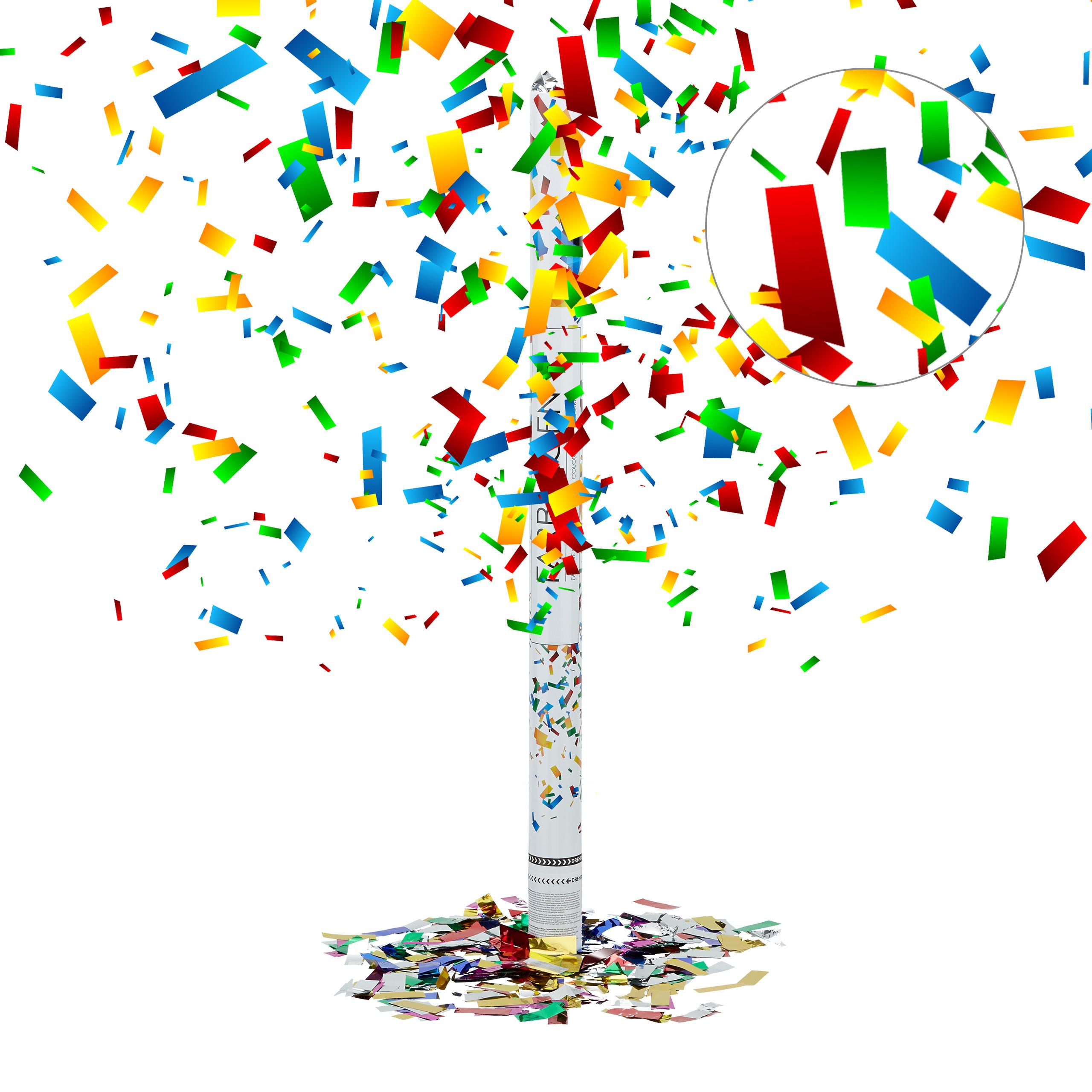 Konfetti Party 5m Effekth/öhe Private Partys Konfeti Private Feiern Konfettikanone f/ür Silvester Geburtstag Konfetti-Kanone Party-Popper 30 cm SILBER Confetti 1 Konfetti-Shooter