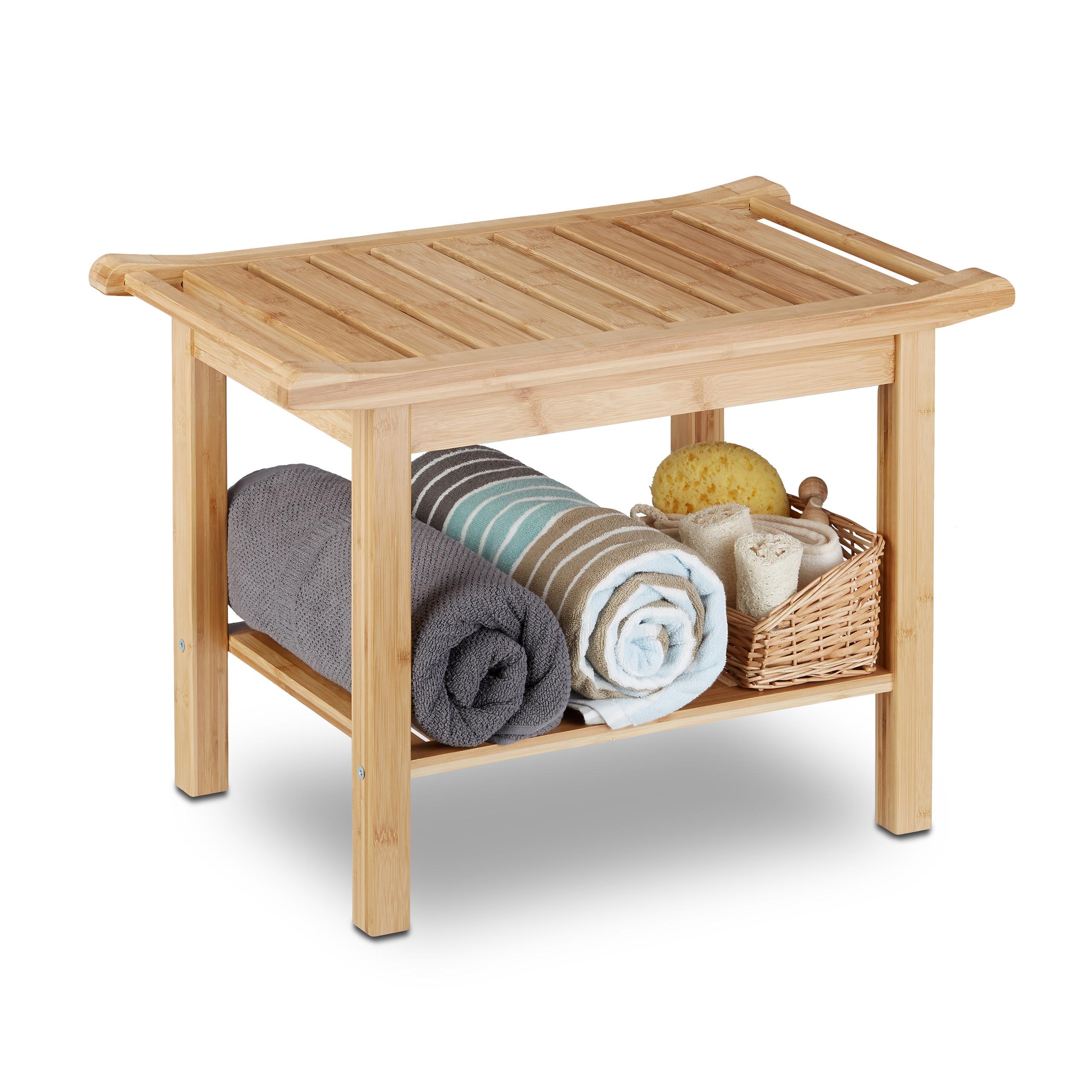 Details zu Badezimmer Bank Bambus mit Ablage, natur Holz Bank fürs Bad,  Schuhfach, Sitzbank