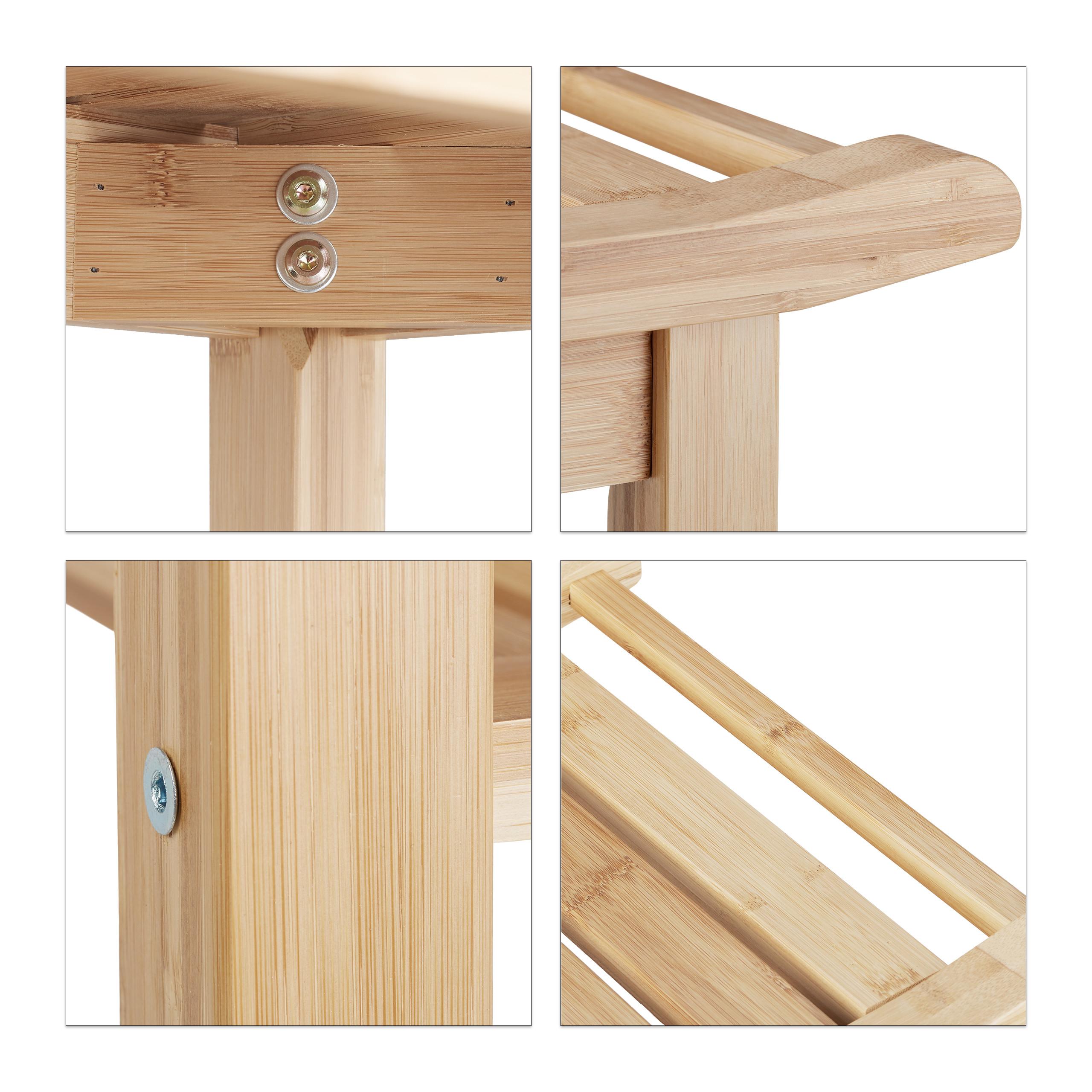 Badezimmer Bank Bambus Mit Ablage Natur Holz Bank Furs Bad Schuhfach Sitzbank Ebay