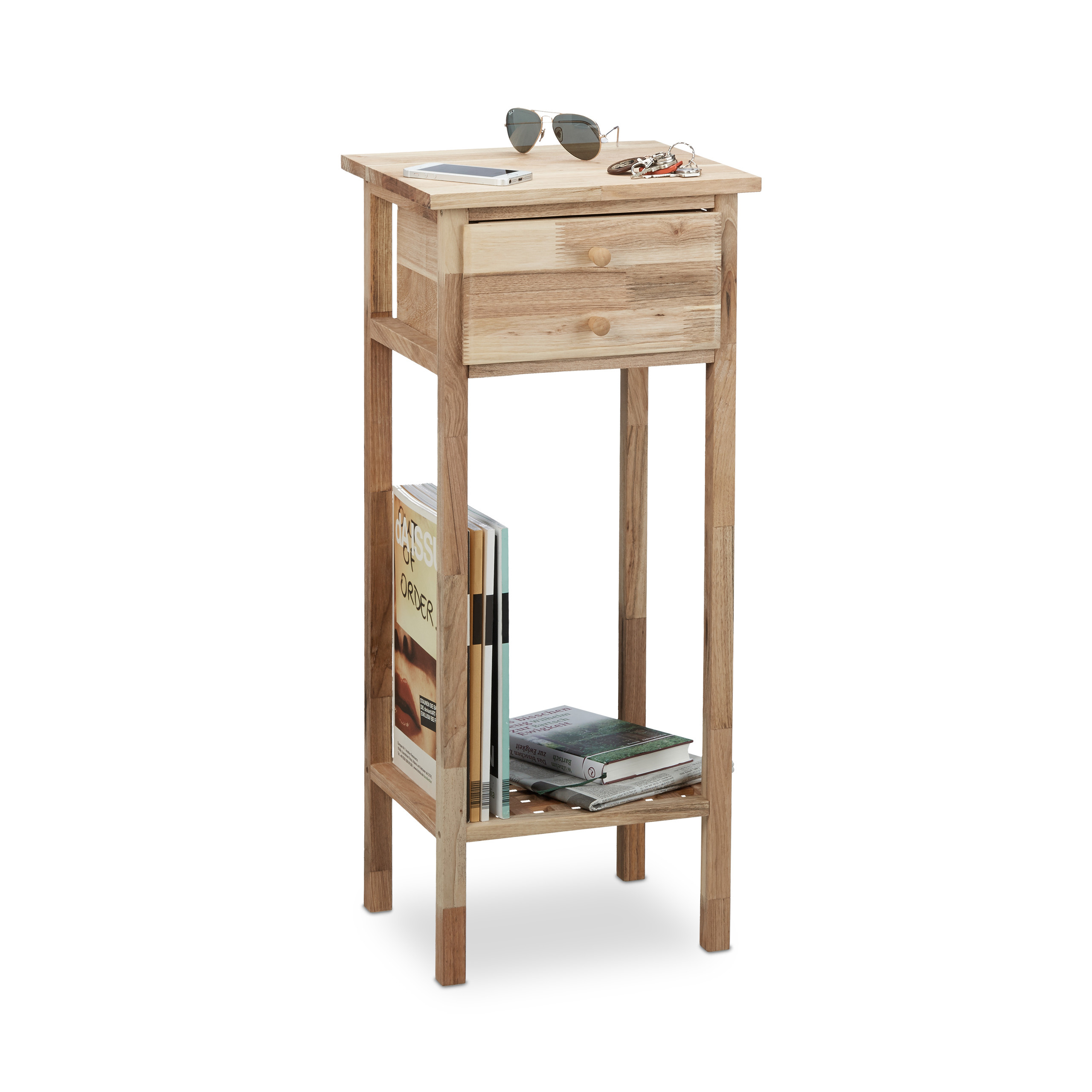 Telefontisch Holz Holztisch Beistelltisch Walnussholz Abstelltisch Schublade