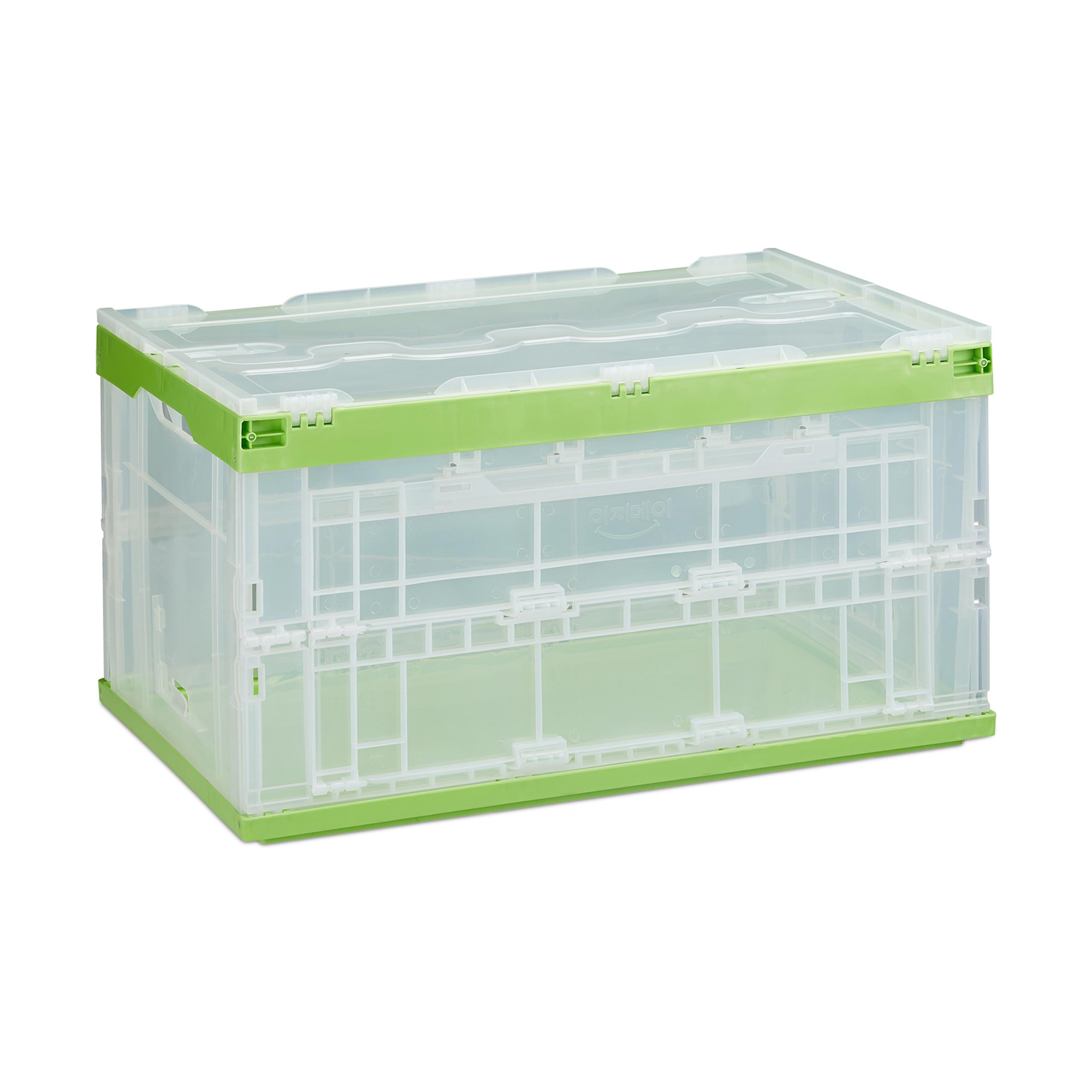 2 x Transportbox grün Stapelbox Aufbewahrungsbox 60l Klappbox geschlossen