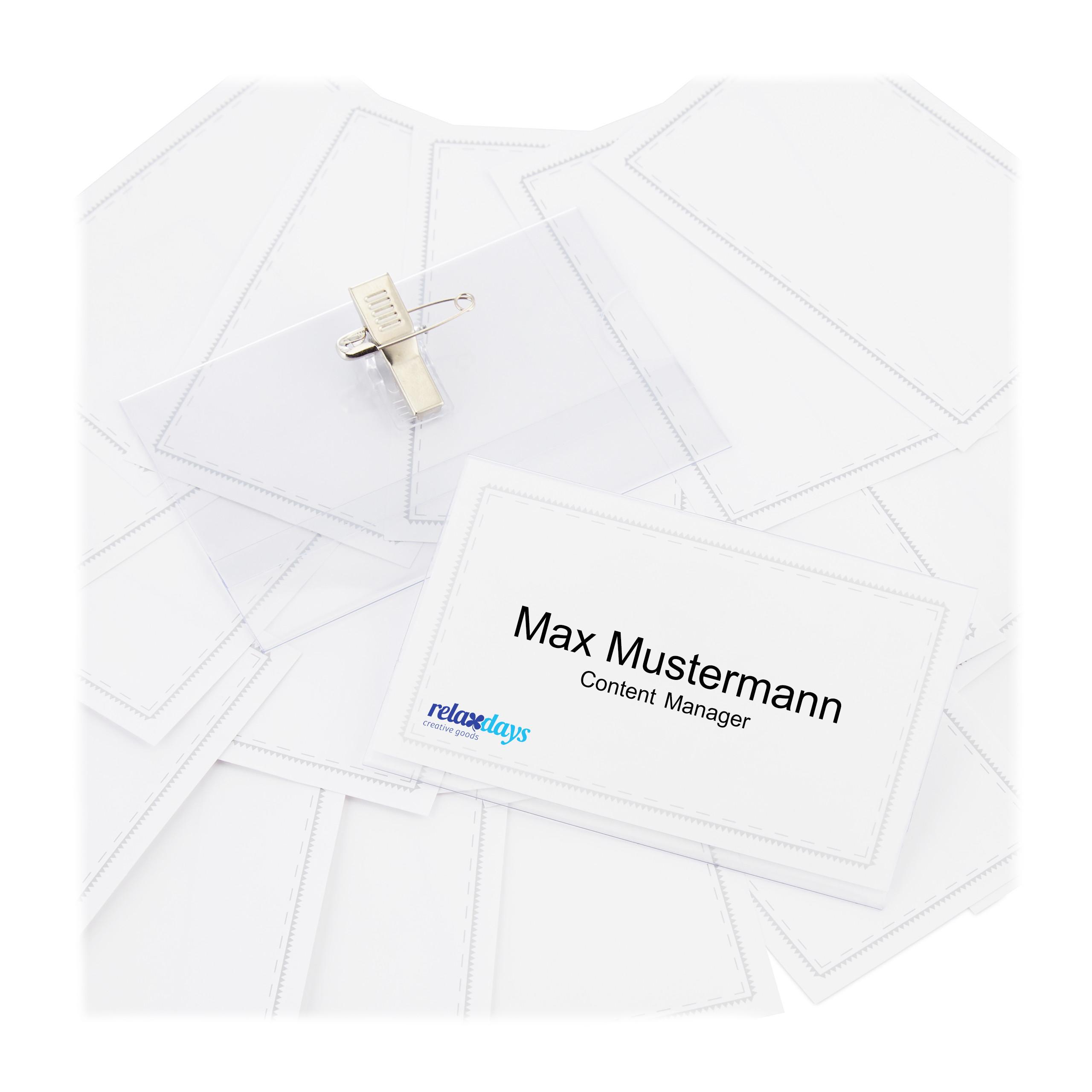 Namensschilder 50er Set PVC Namensschild Kartenhülle Clip Ansteck Namensschild