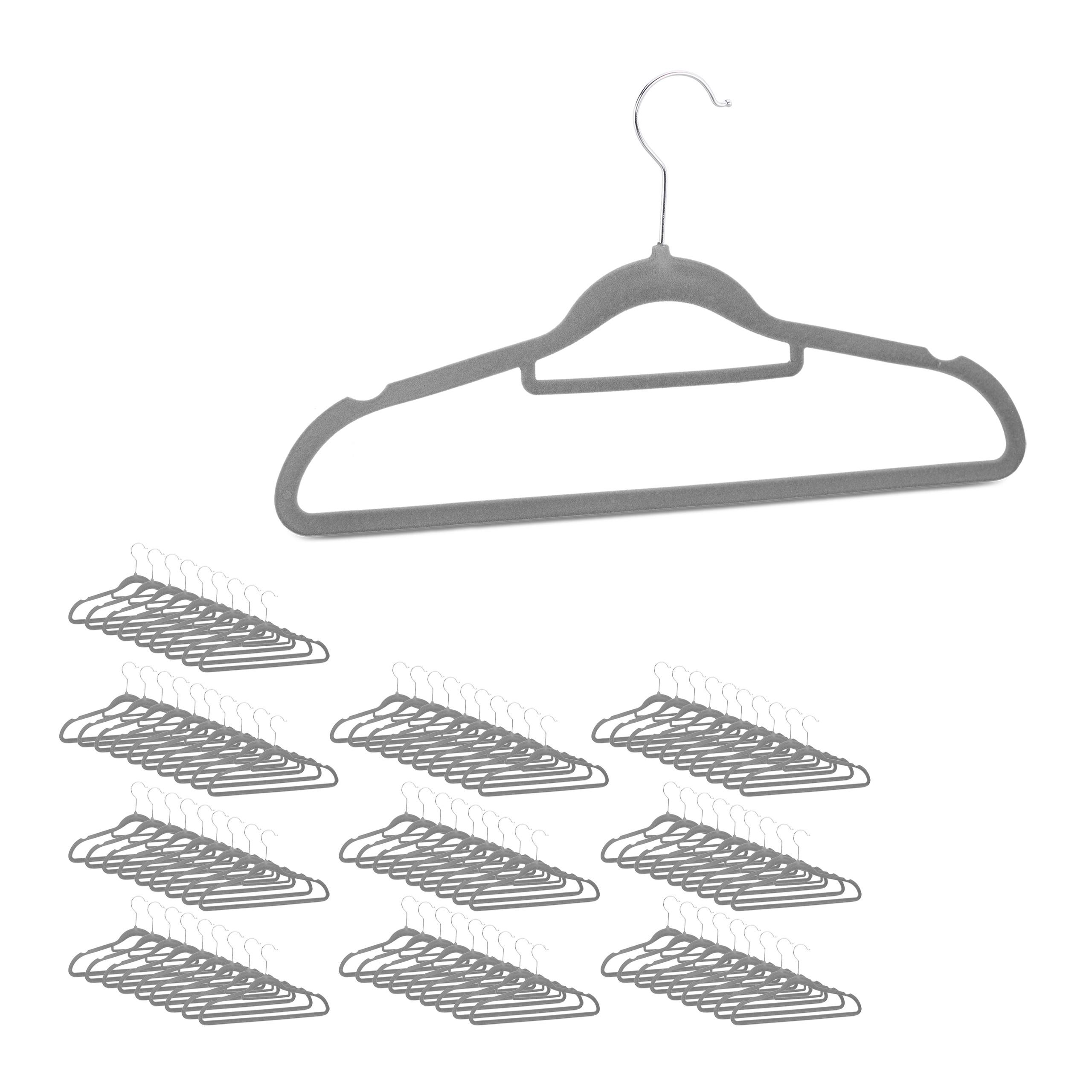 Kleiderbügel Set groß Garderobenbügel Hemdbügel Samtbügel rutschfest Wäschebügel