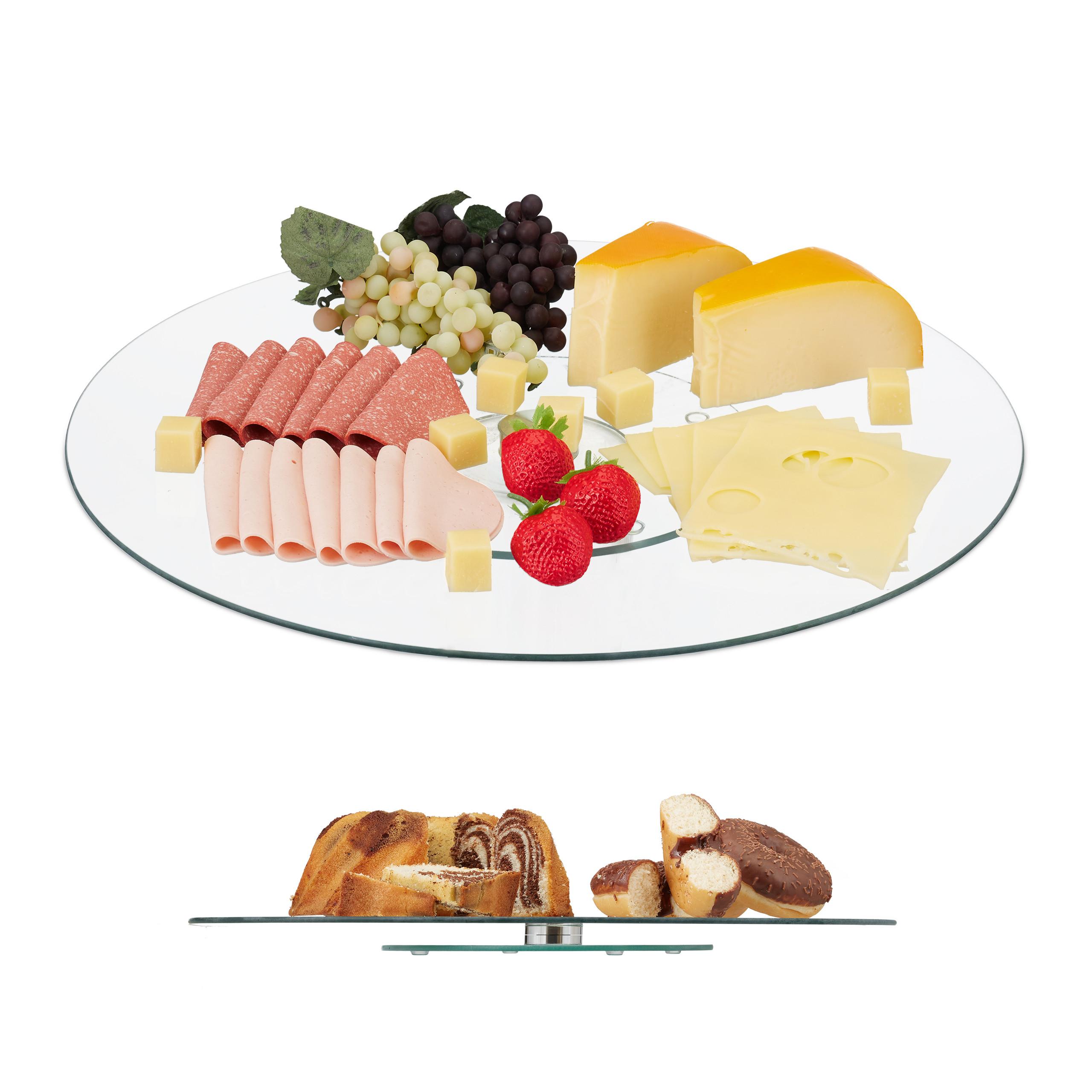 Servierplatte-Tortenplatte-Kuchenplatte-Glas-Drehteller-Kaeseplatte-drehbar-rund