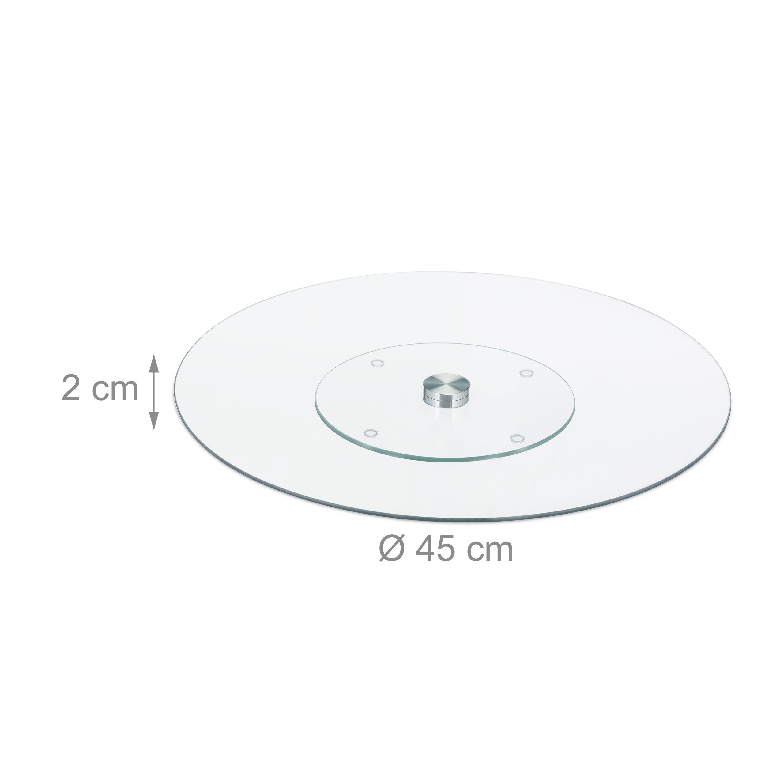Servierplatte-Tortenplatte-Kuchenplatte-Glas-Drehteller-Kaeseplatte-drehbar-rund Indexbild 2