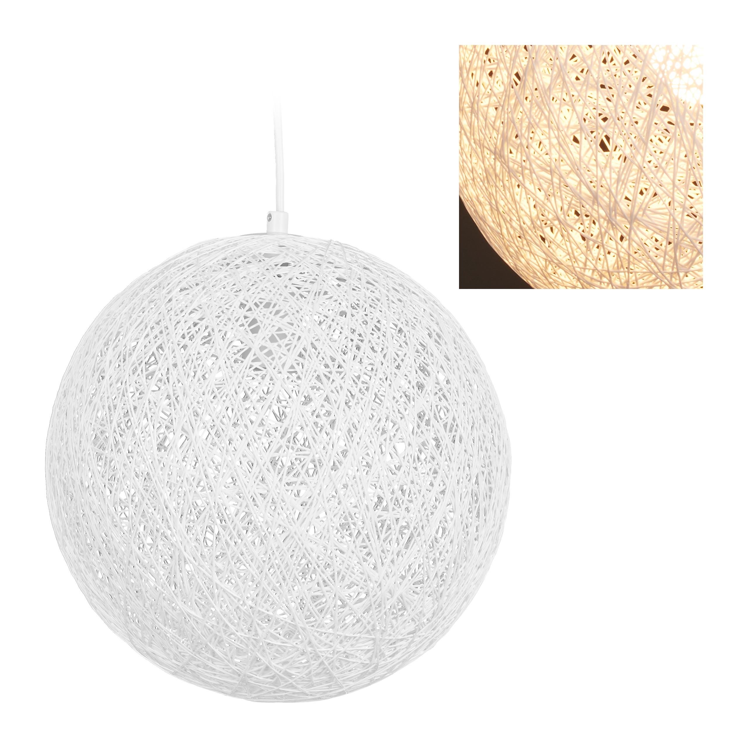Rattan Lampe weiß Hängelampe Pendelleuchte Geflechtlampe Kugelleuchte hang lamp