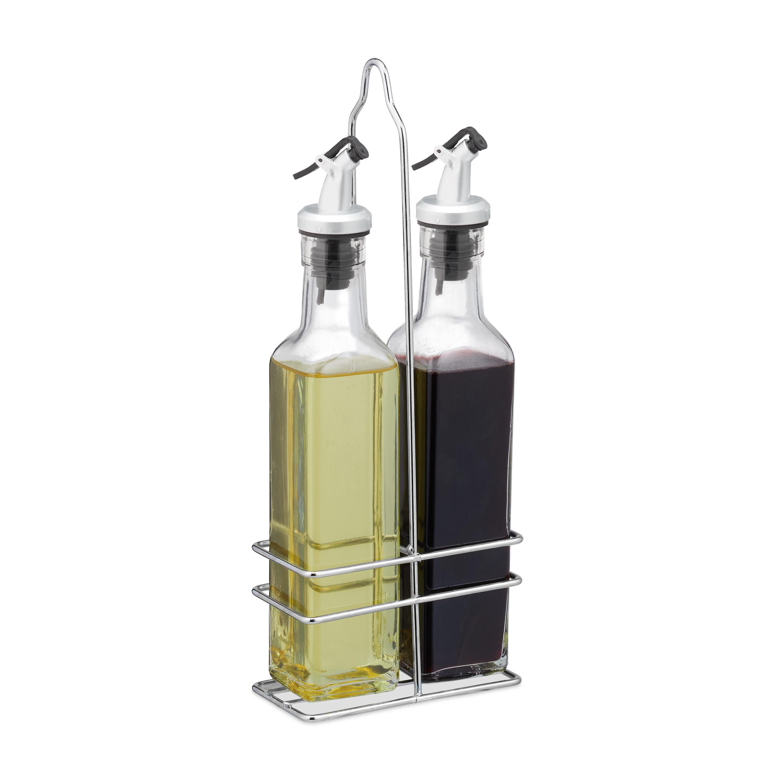 A M I N A Essig und Öl Spender Set 3-teilig 2 Ölflaschen und Halterung 500ml