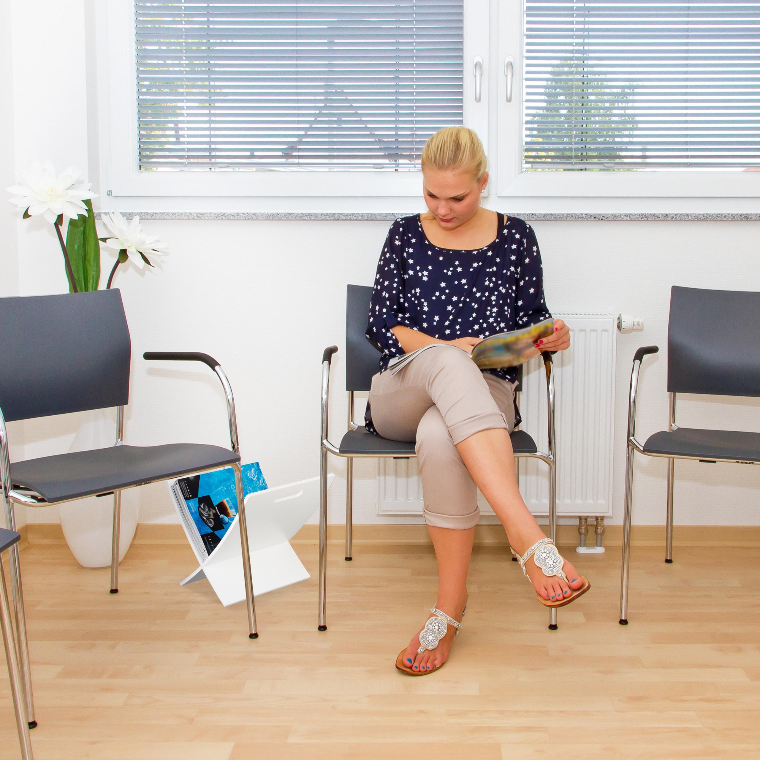 Zeitungshalter Magazinhalter Zeitschriftenständer weiß Zeitungsständer Holz