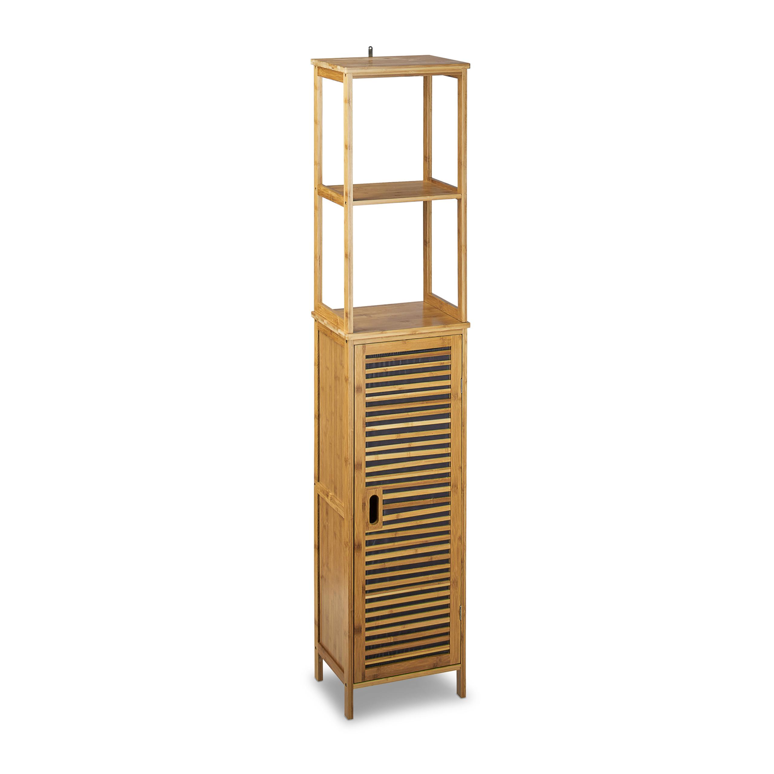 Badregal Bambus schmal Bad Badezimmerschrank 16 Ablagen Standregal