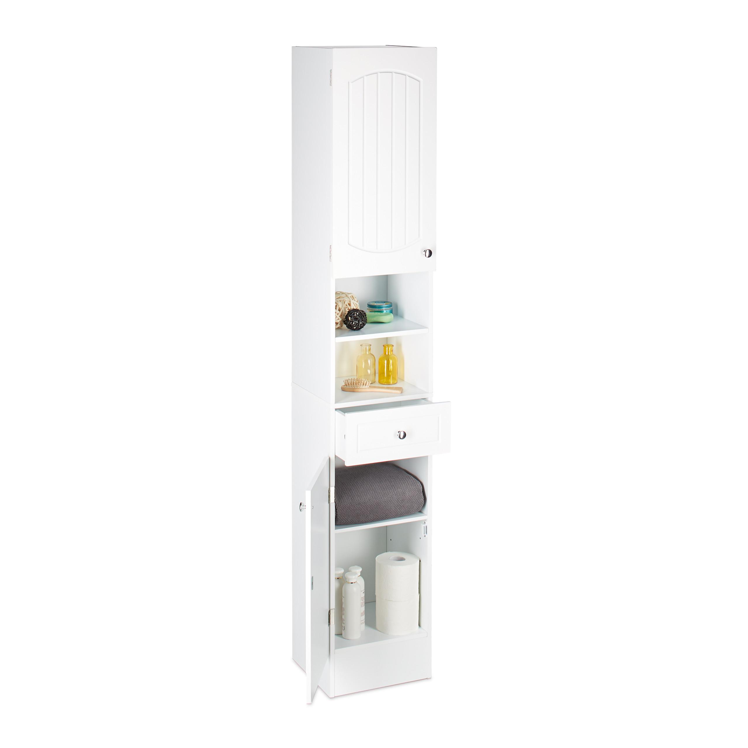 Détails sur Colonne de salle de bain en bois blanc armoire porte tiroir  meuble de rangement