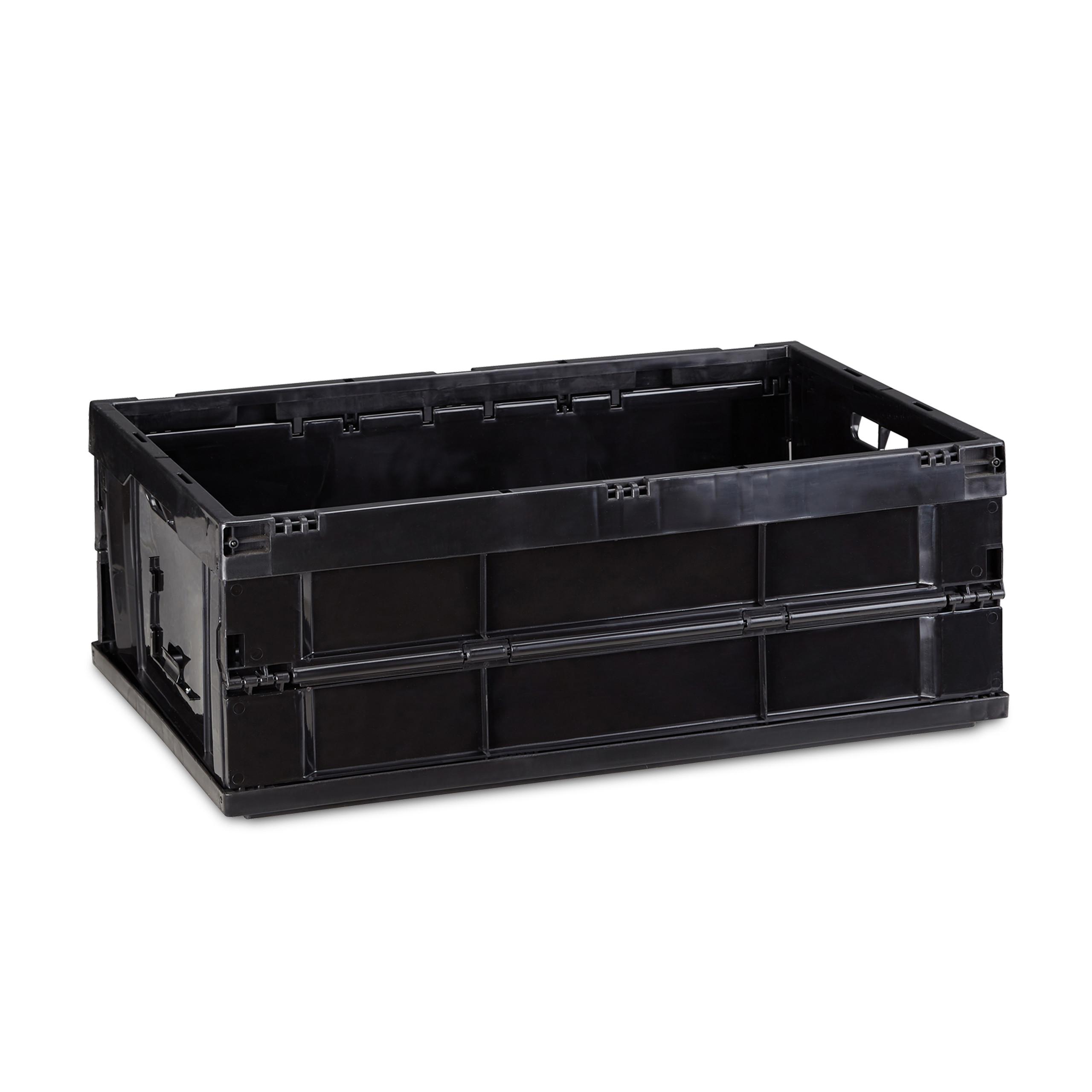 Détails sur Boîte pliable couvercle caisse de rangement plastique coffre  transport 60x40x32