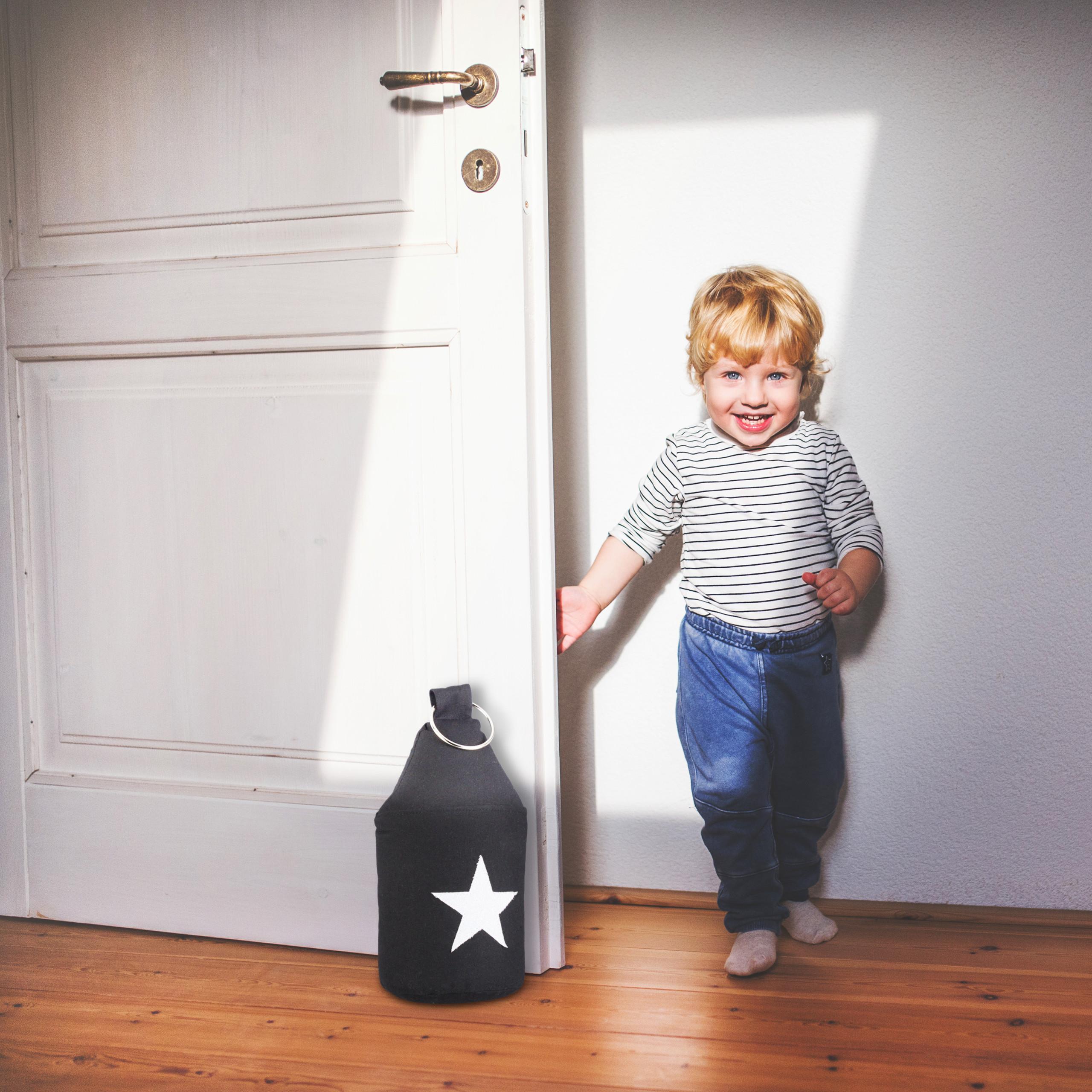 Door-Stop-with-Star-Fabric-Bumper-Floor-Doorstop-Tall-with-Handle-Chic thumbnail 3