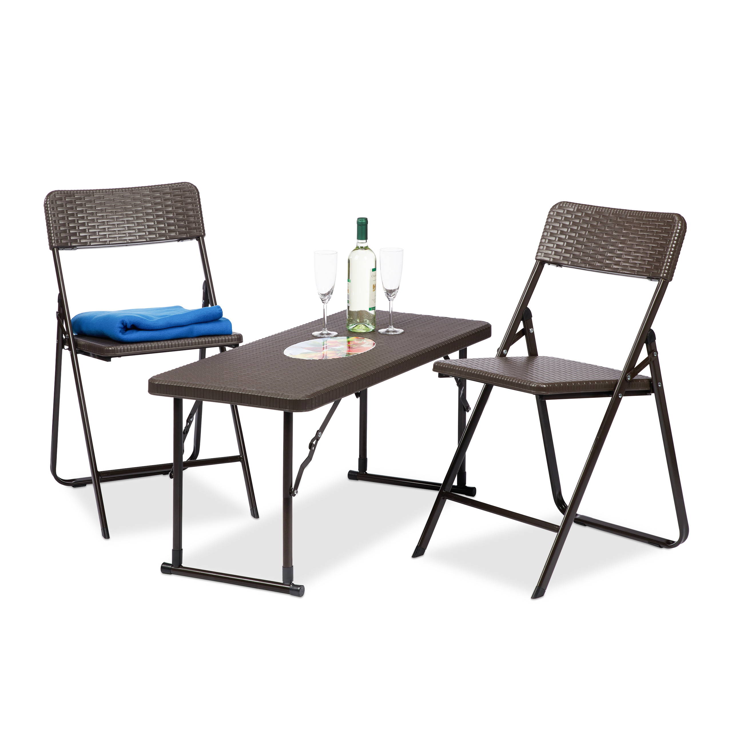 Meubles de Jardin Set 3x Groupe Balcon Camping Garniture Pliante ...