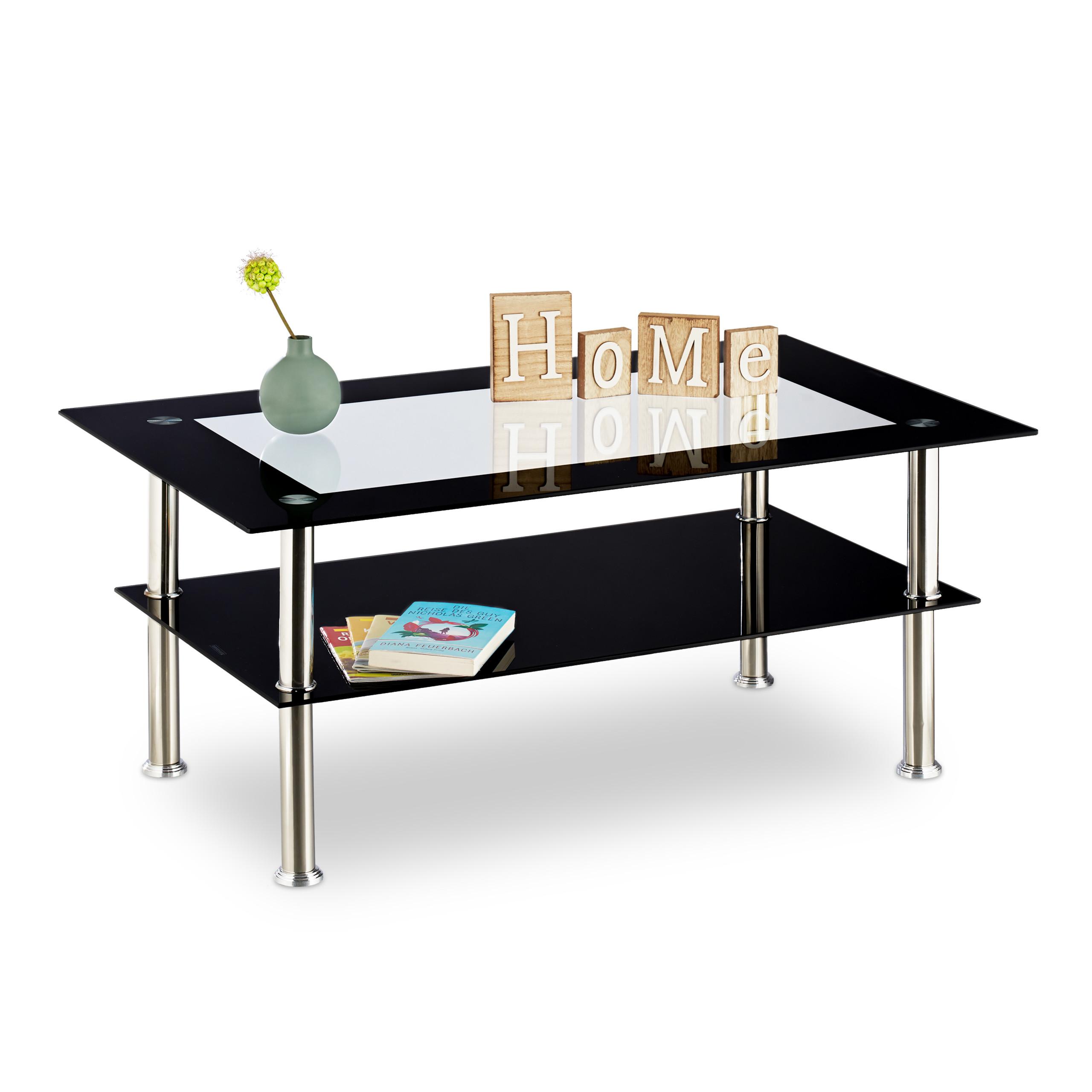 Dettagli su Tavolino da divano vetro nero, tavolo basso soggiorno,  trasparente, 2 ripiani
