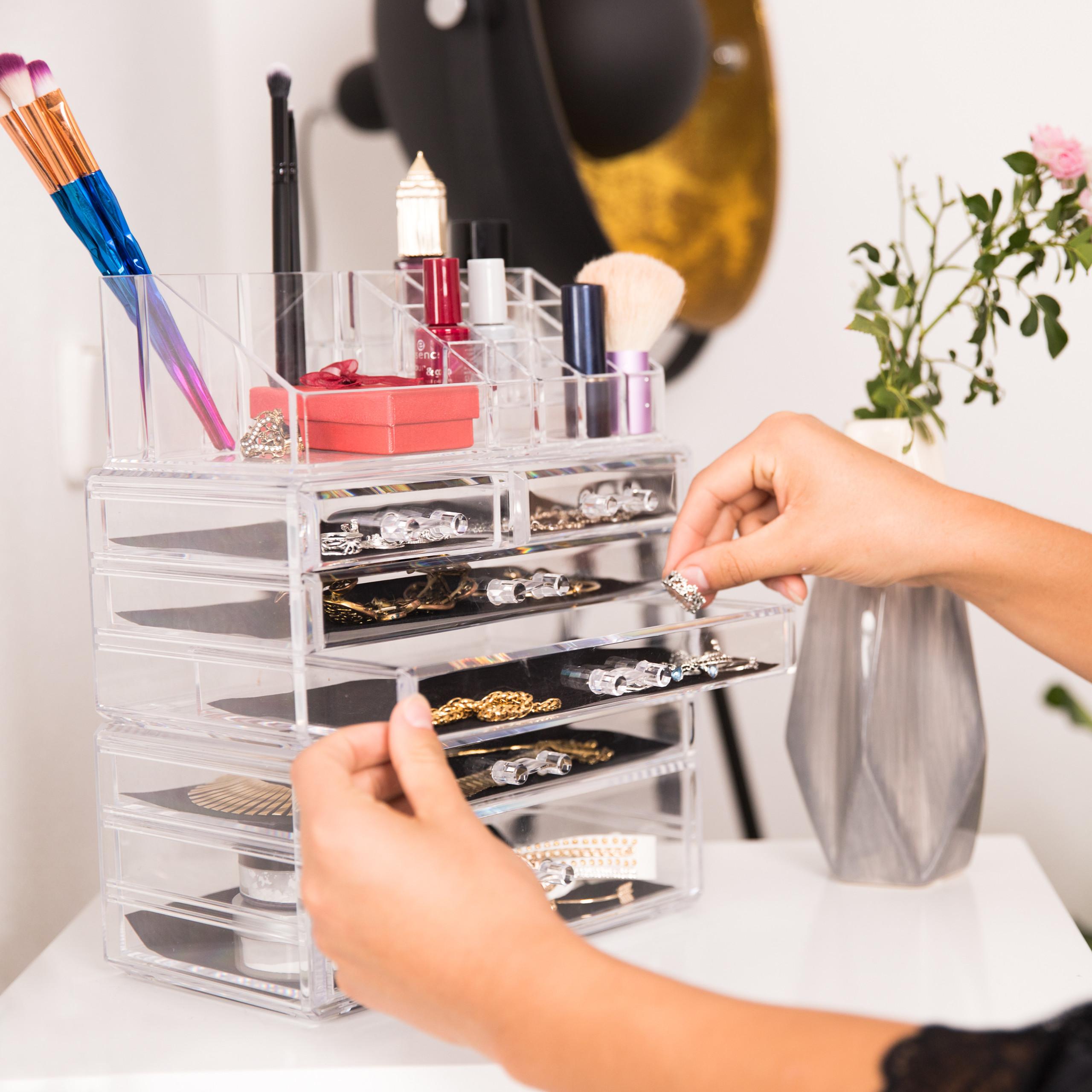 make-up-organizer-opbergen-van-cosmetica-acryl-stapelbaar-met-lades miniatuur 3