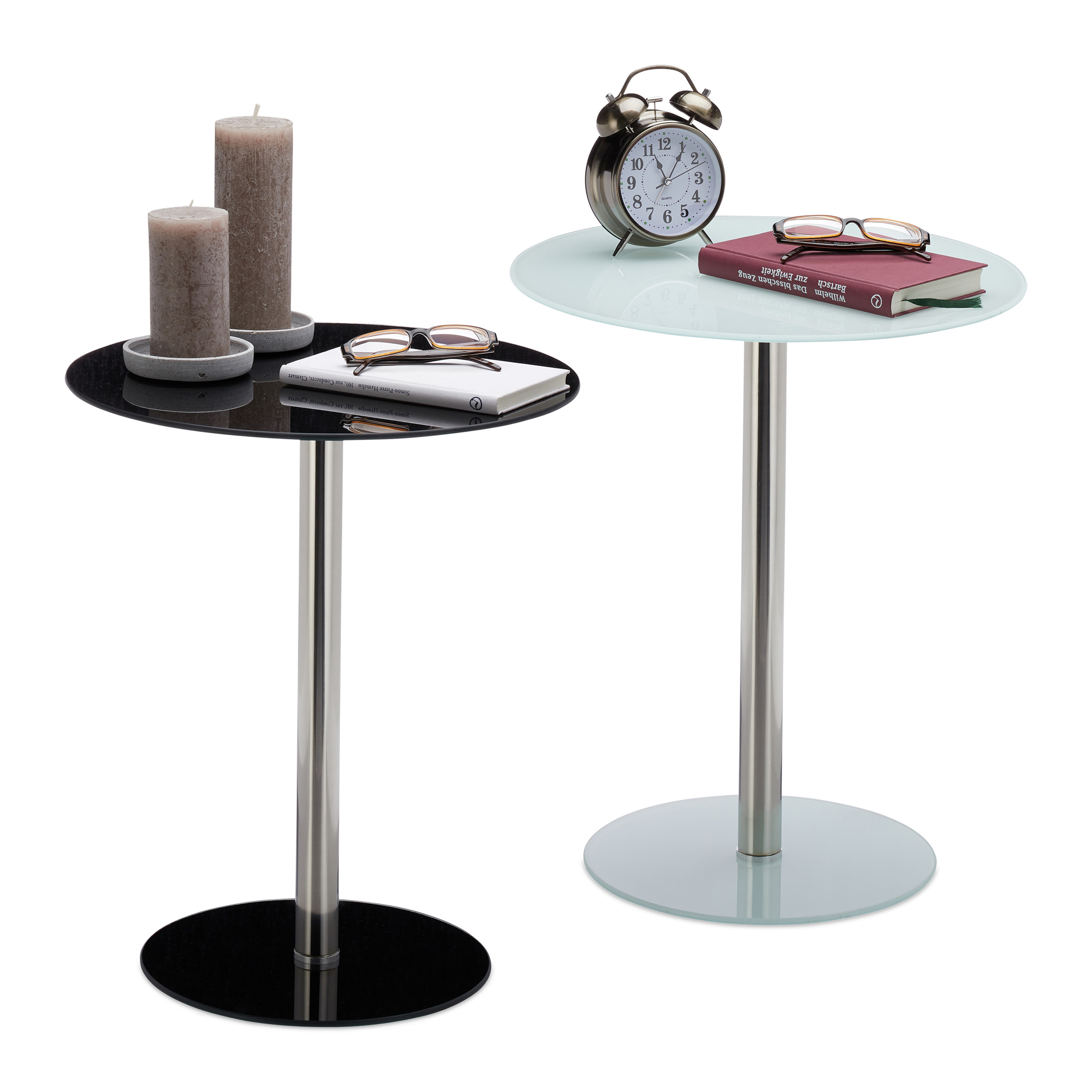 Table d\'appoint Verre Inox Ronde Table design de Salon Pause Café ...