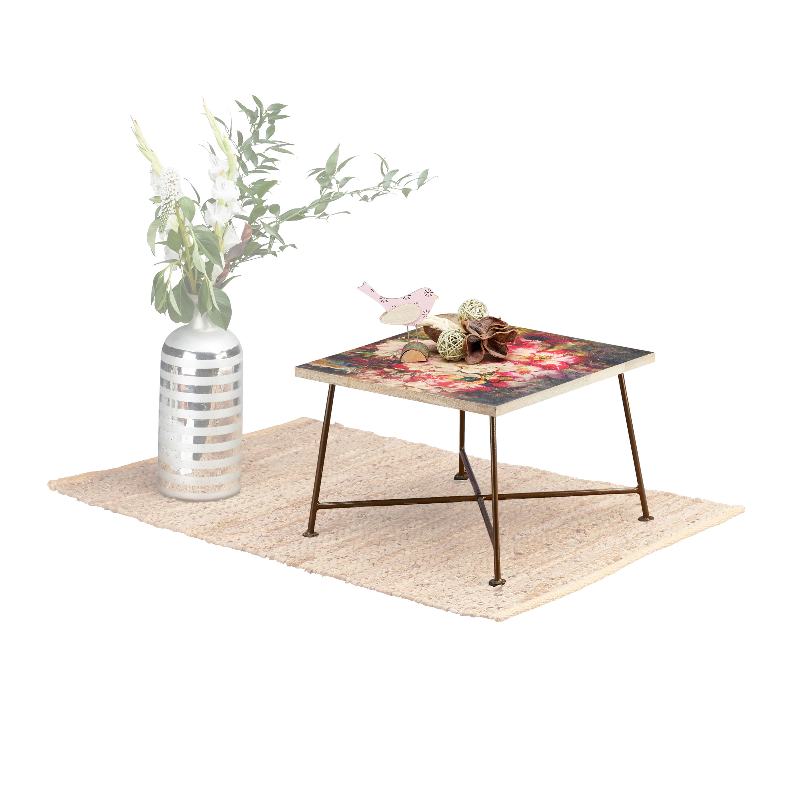 Vintage Side Table Wood And Metal Coffee Table Square Floral