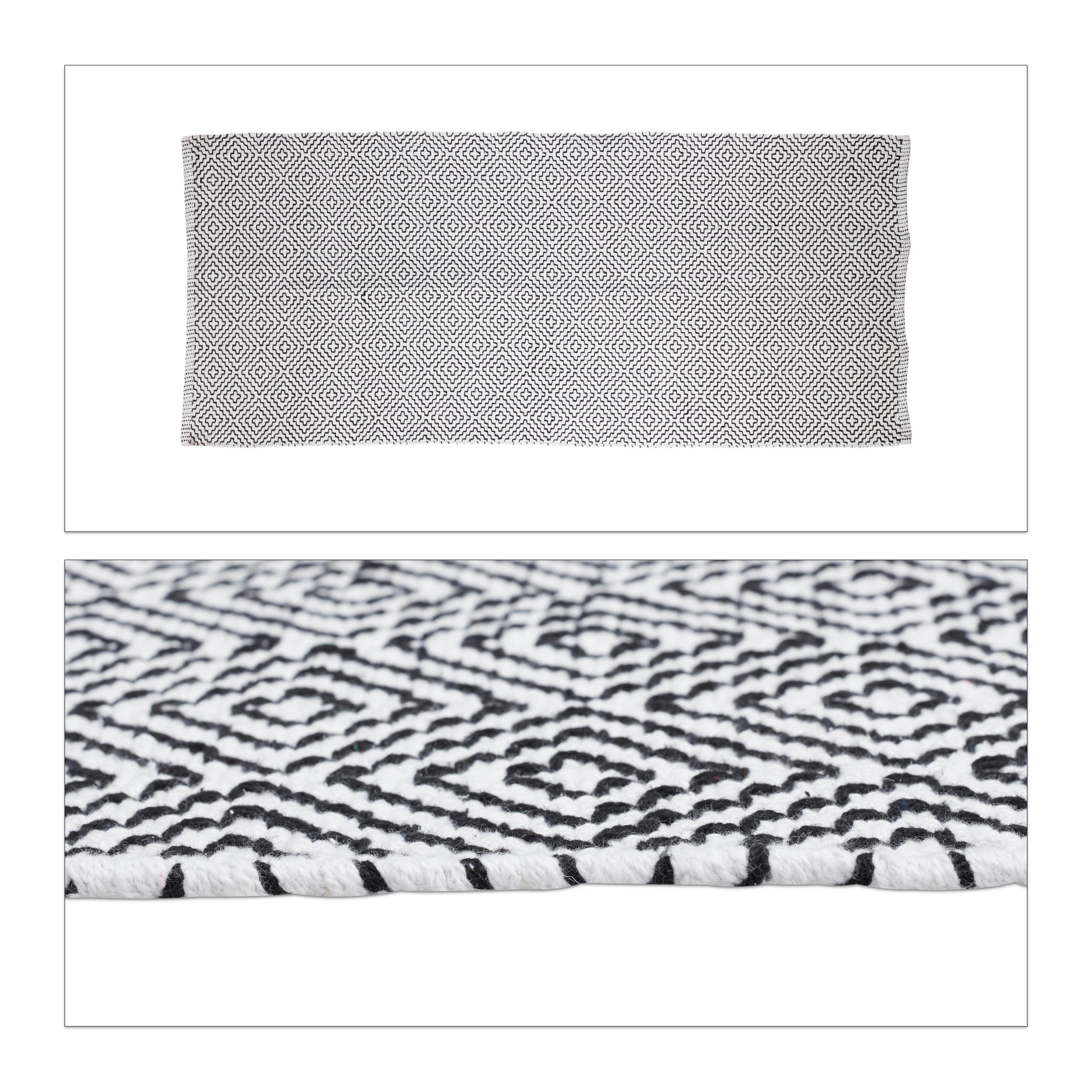 teppich l ufer baumwolle flurteppich schwarz wei wohnzimmerteppich rutschfest ebay. Black Bedroom Furniture Sets. Home Design Ideas