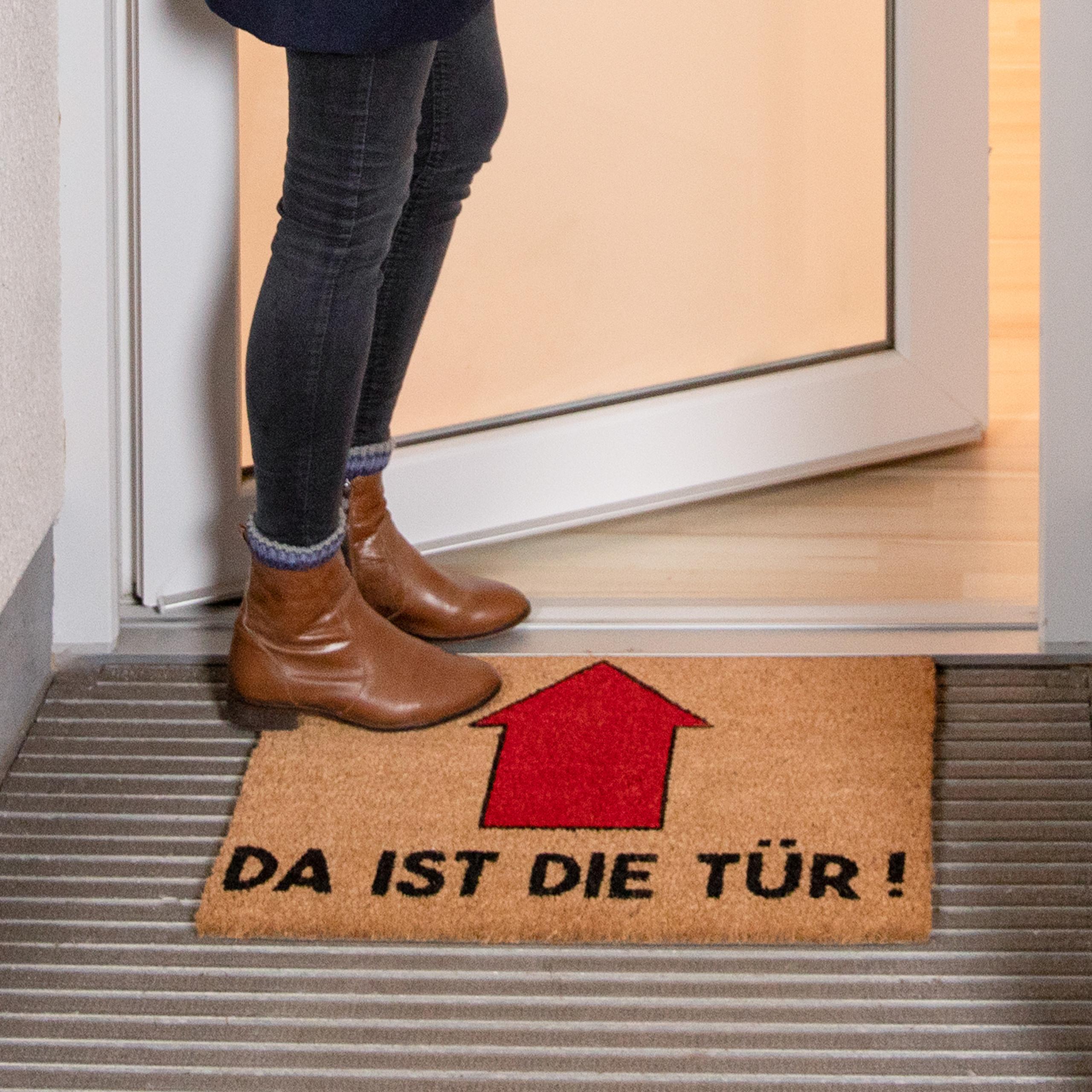 Da Ist Die Tür : fu matte spruch kokosmatte da ist die t r vorleger pfeil ~ A.2002-acura-tl-radio.info Haus und Dekorationen