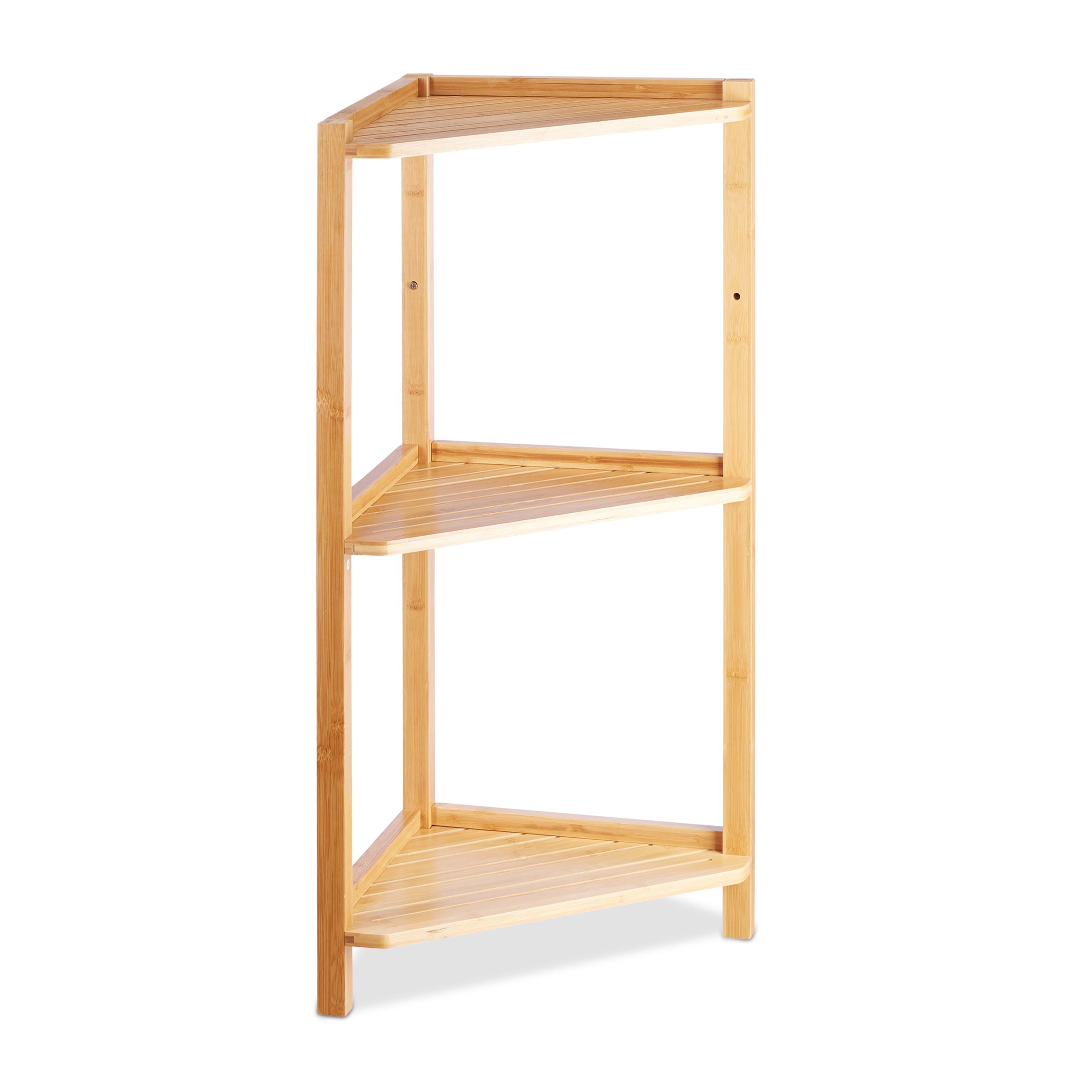 Scaffale ad angolo in bambù, 3 ripiani, mobile angolare bagno e ...