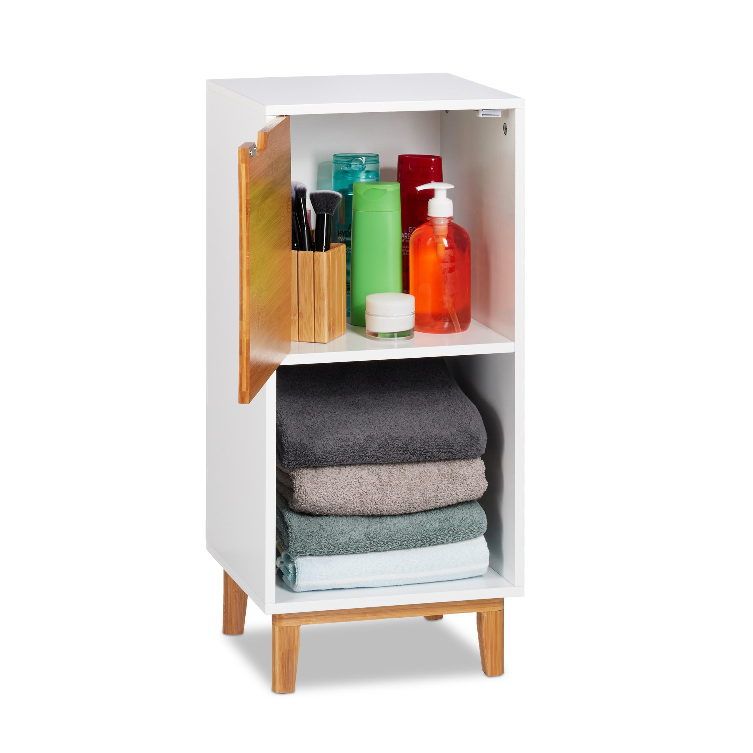 Dettagli su Mobiletto basso bianco, libreria con anta per soggiorno, MDF,  bambù, scandinavo