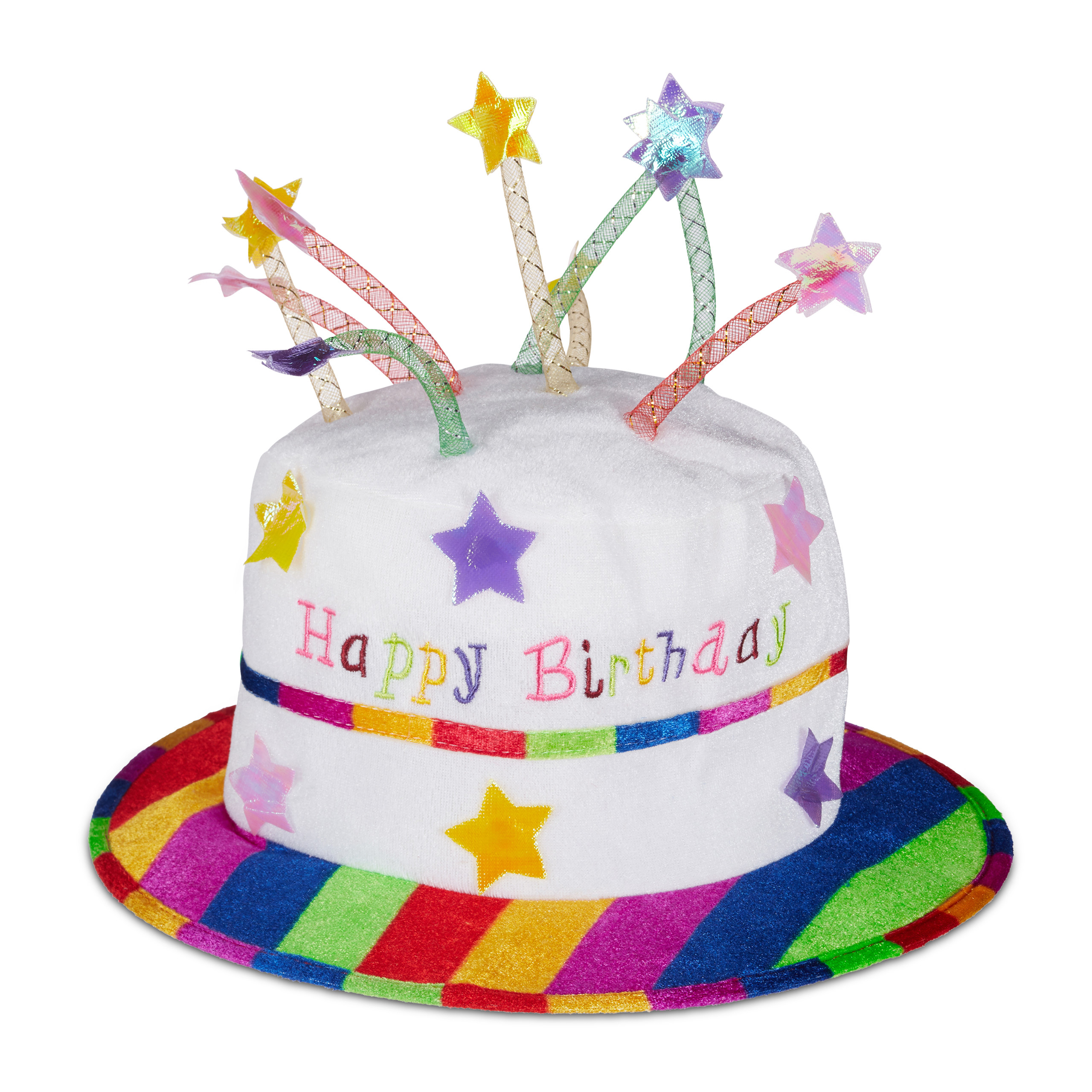 Happy Birthday Cake Hat Plush Fabric Party With Candles