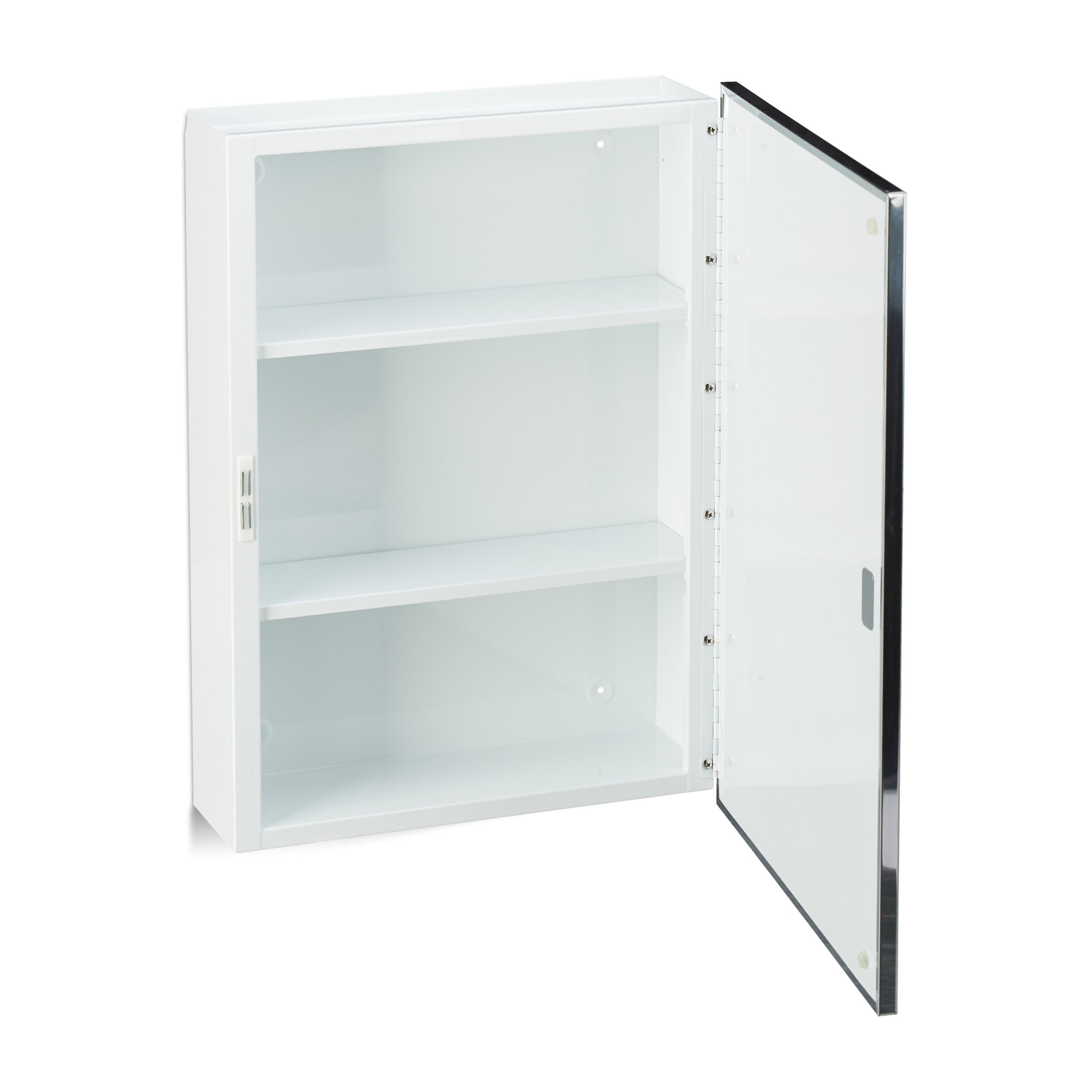 Armadietto a specchio per il bagno pensile in acciaio 3 ripiani anta unica ebay - Scarpiera specchio anta unica ...