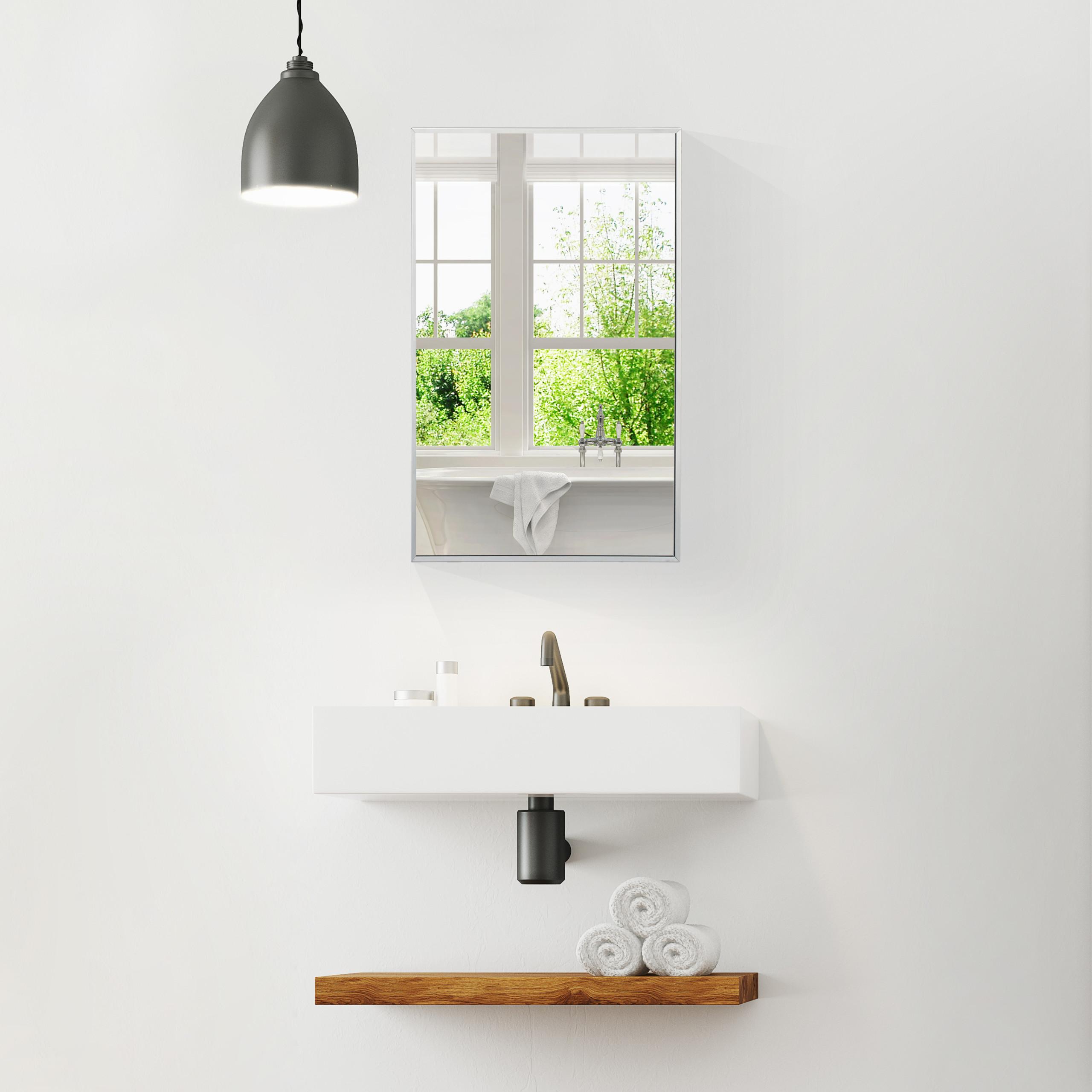 Armadietto a specchio per il bagno pensile in acciaio 3 ripiani anta unica ebay - Pensile bagno specchio ...