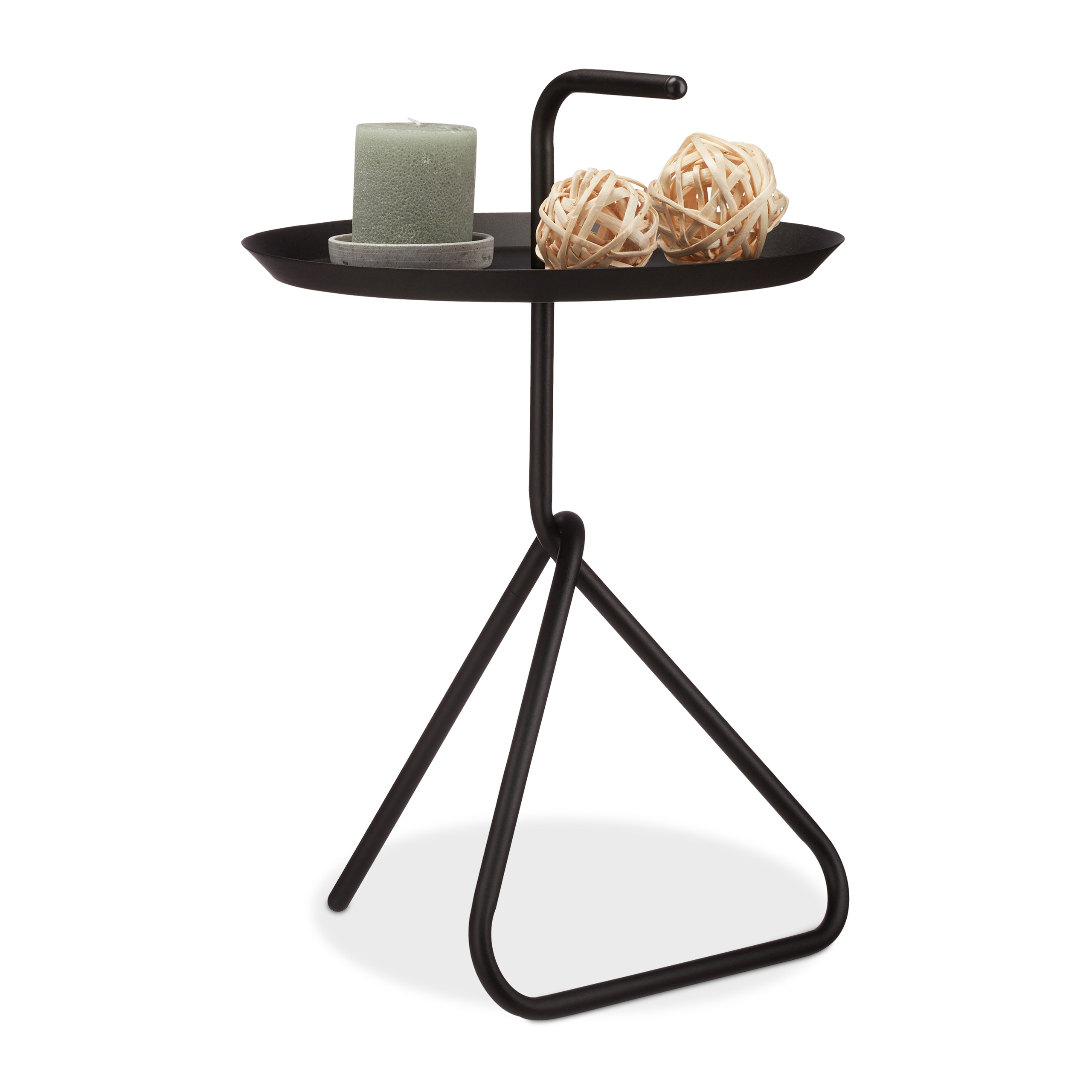 Metal Side Table With Handle, Storage Tray, Round Black