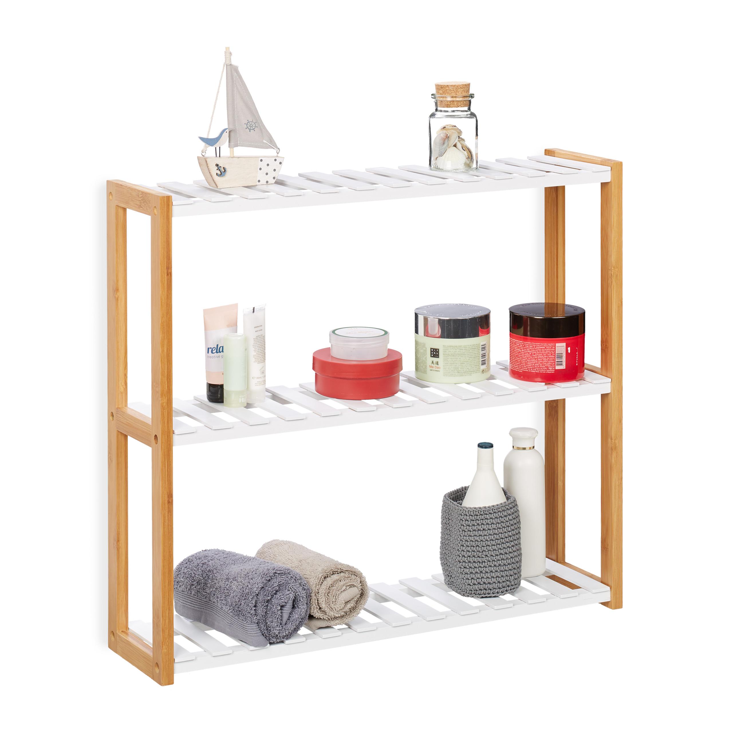 Dettagli su Scaffale da parete con 3 ripiani, mobiletto per bagno, cucina,  colore bianco