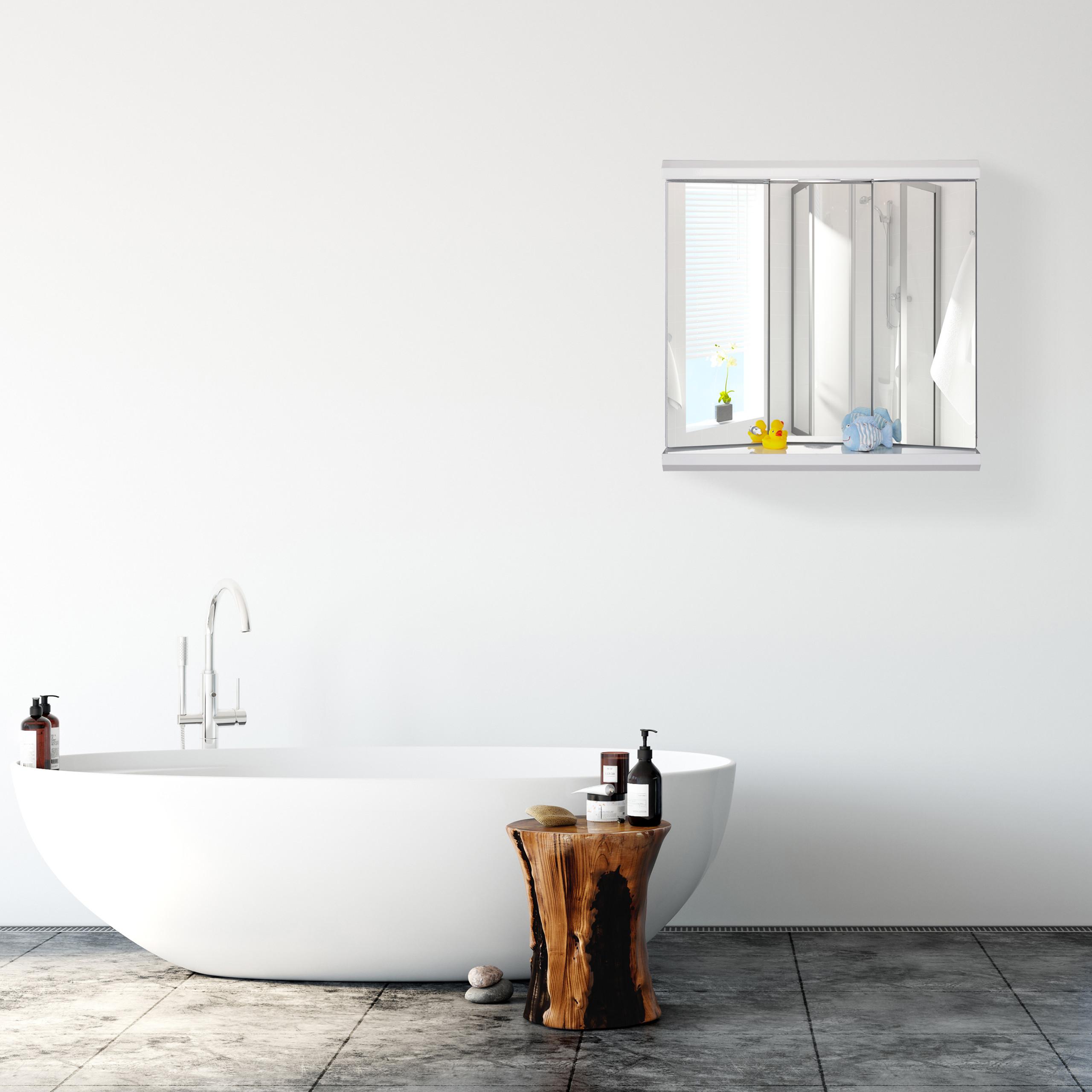 Dettagli su Armadietto da Bagno a Specchio con LED 3 Ante Pensile Servizi  Presa Elettrica WC