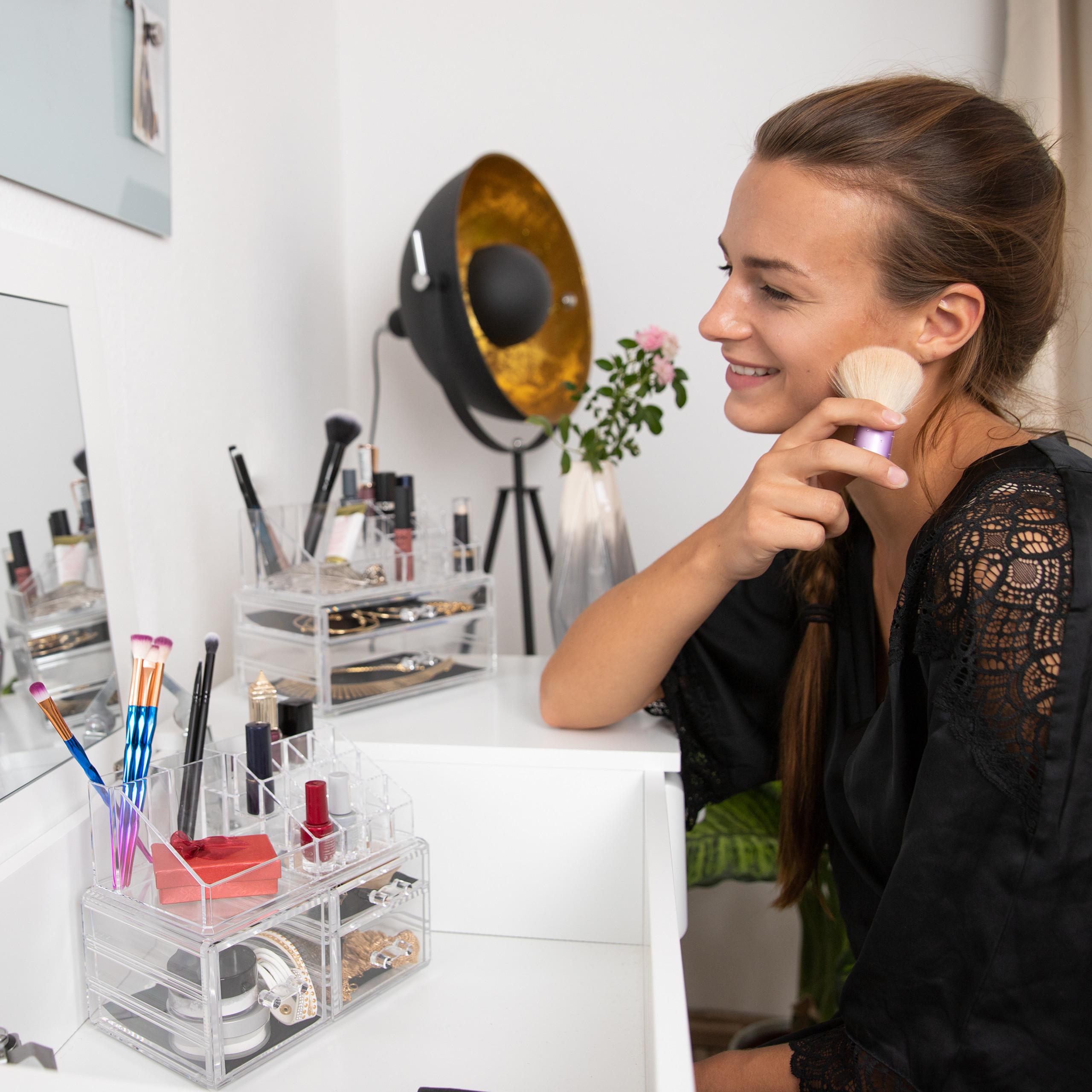 Make-up-organizer-met-3-lades-acryl-make-up-toren-doorzichtig-16-vakken miniatuur 4