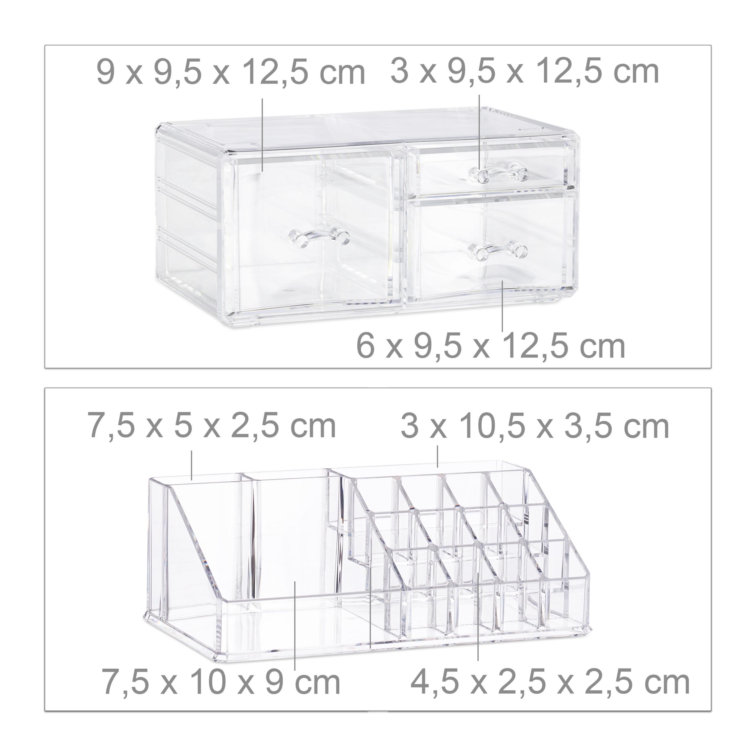 Make-up-organizer-met-3-lades-acryl-make-up-toren-doorzichtig-16-vakken miniatuur 6