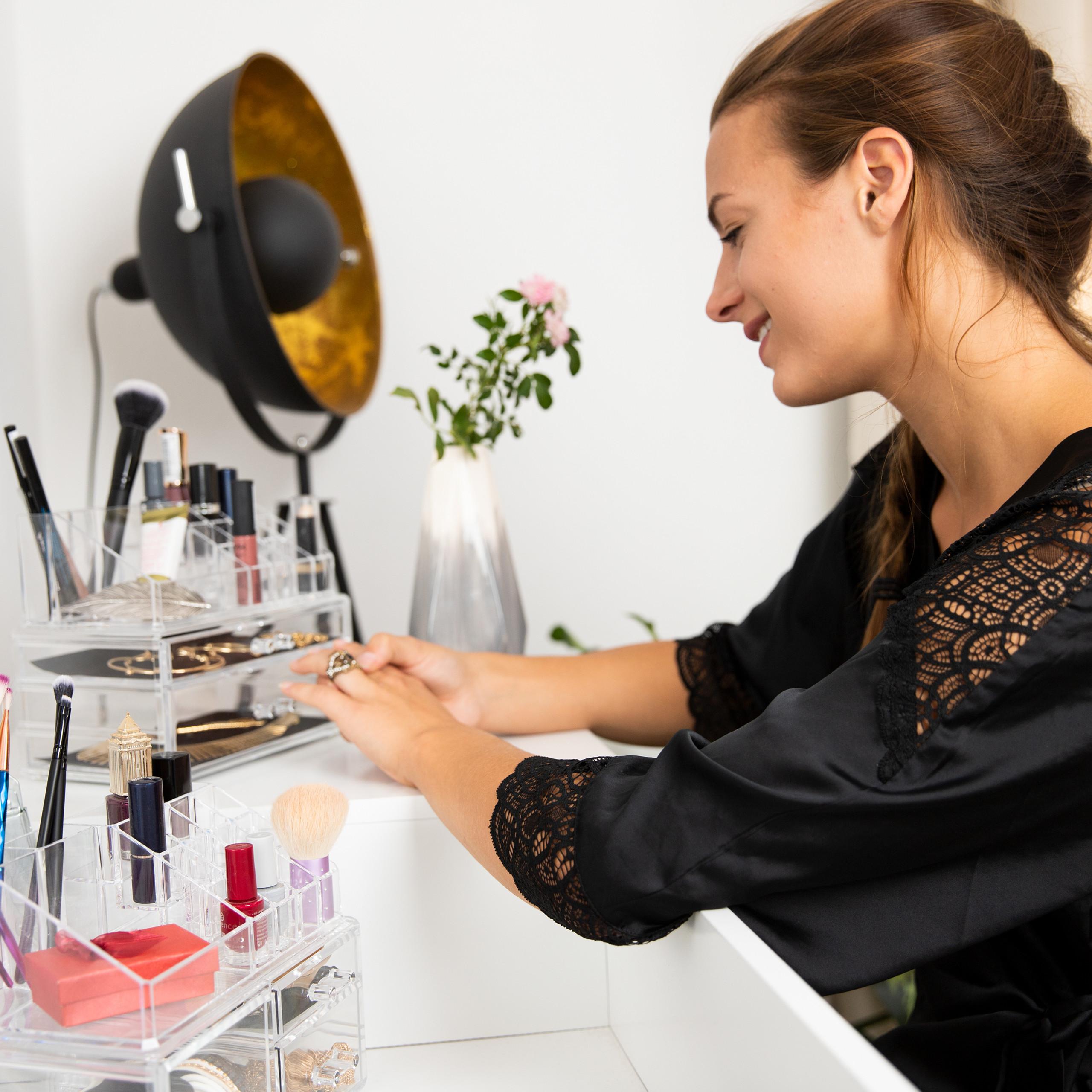 Make-up-organizer-met-3-lades-acryl-make-up-toren-doorzichtig-16-vakken miniatuur 8