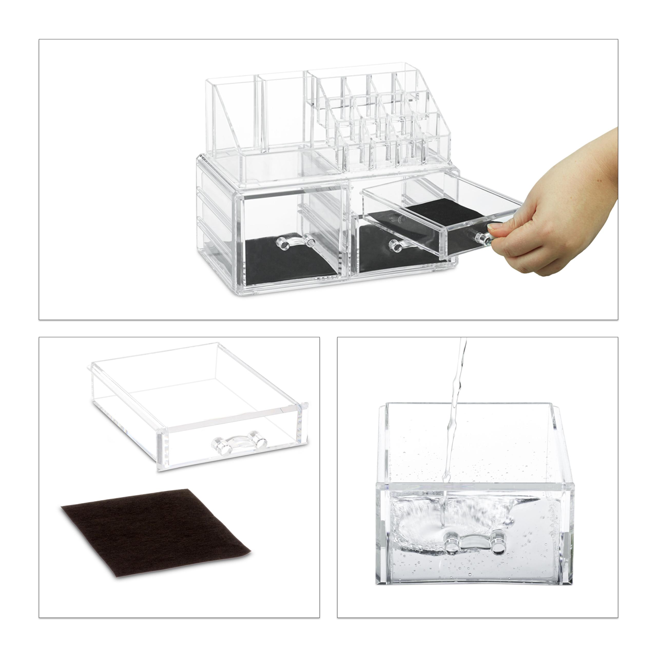 Make-up-organizer-met-3-lades-acryl-make-up-toren-doorzichtig-16-vakken miniatuur 9