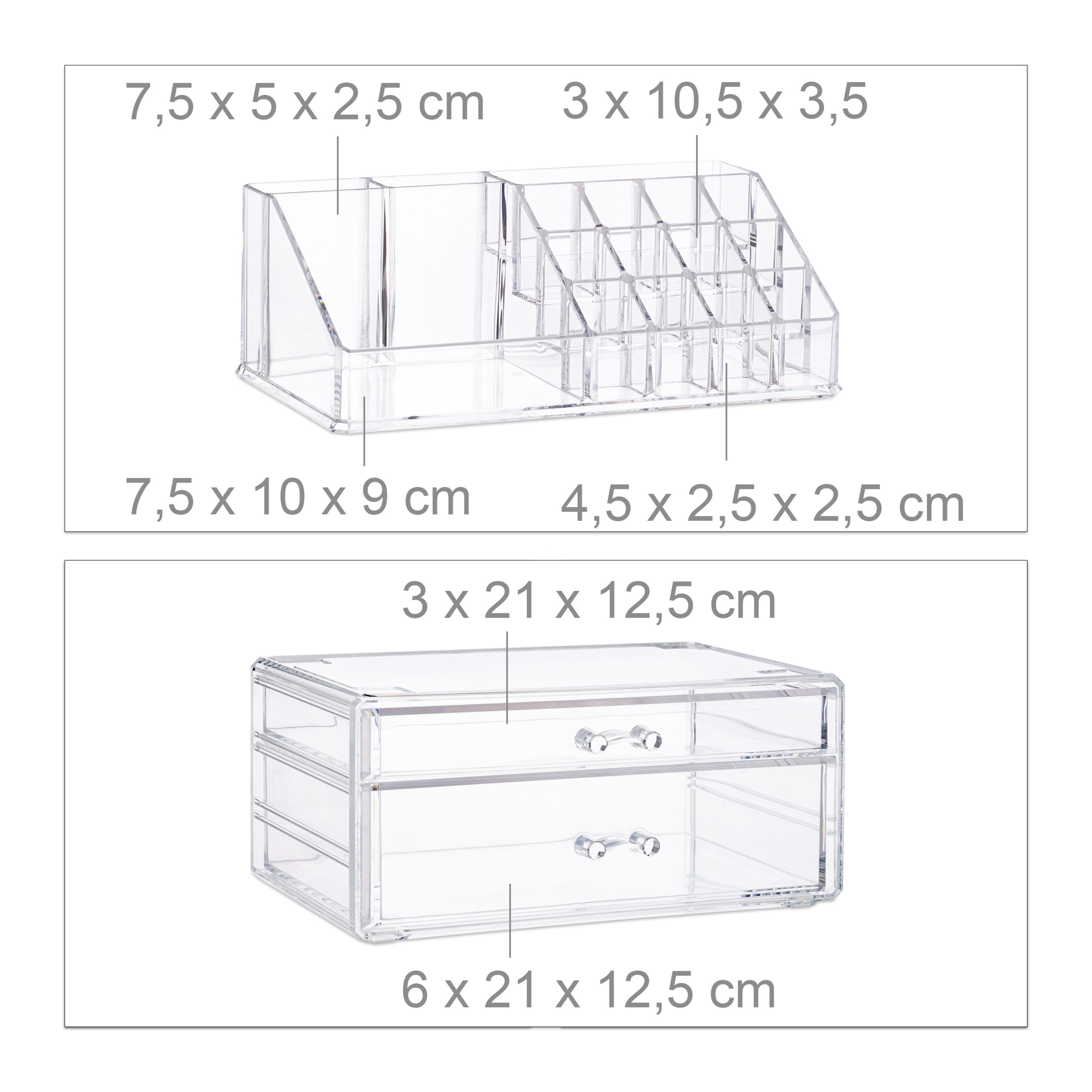 Cosmetic-Organiser-with-2-Drawers-Acrylic-Makeup-Kit-Lipstick-Holder-Large thumbnail 6